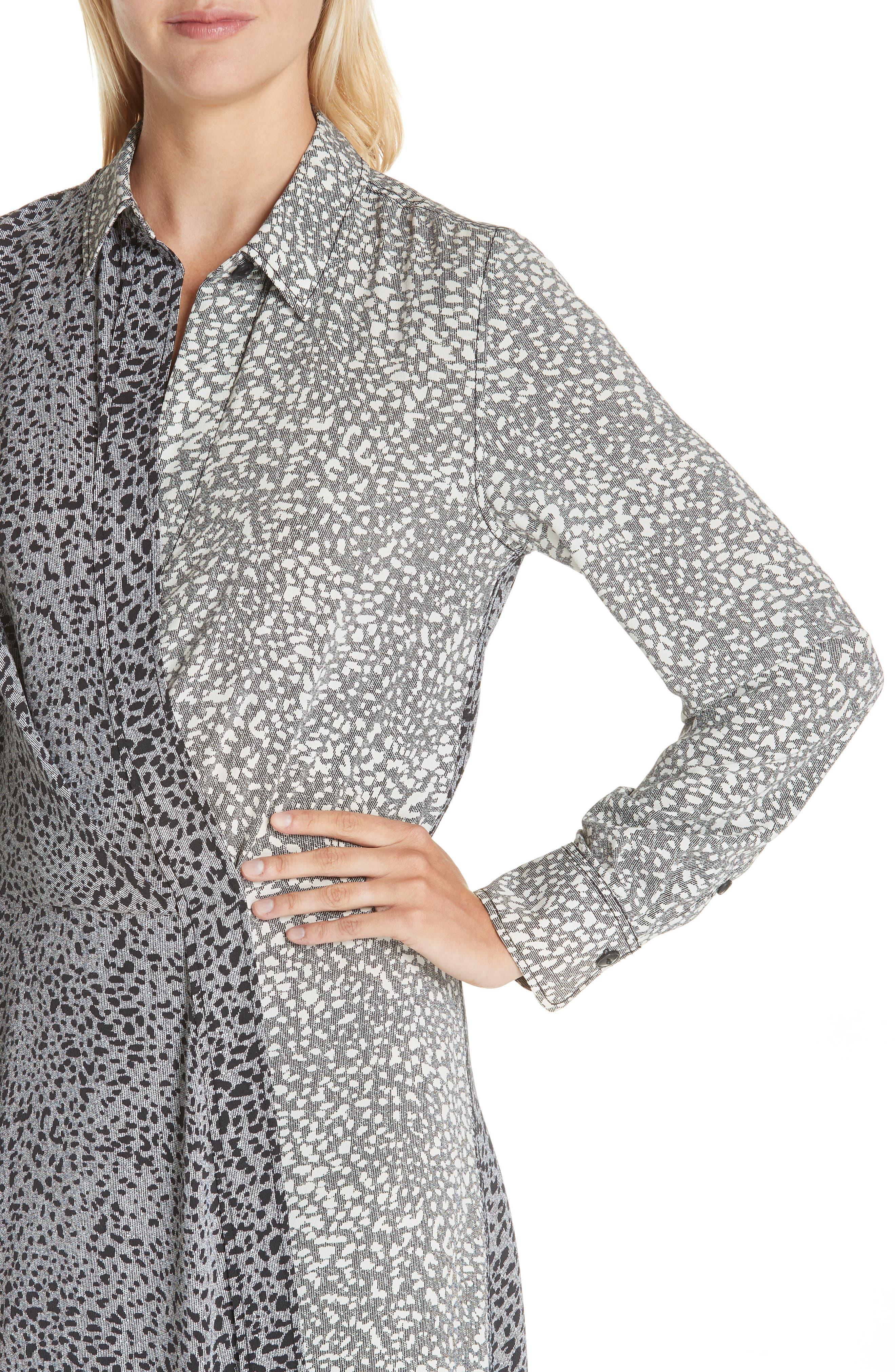 Karen Cheetah Print Silk Dress,                             Alternate thumbnail 4, color,                             BLACK MULTI