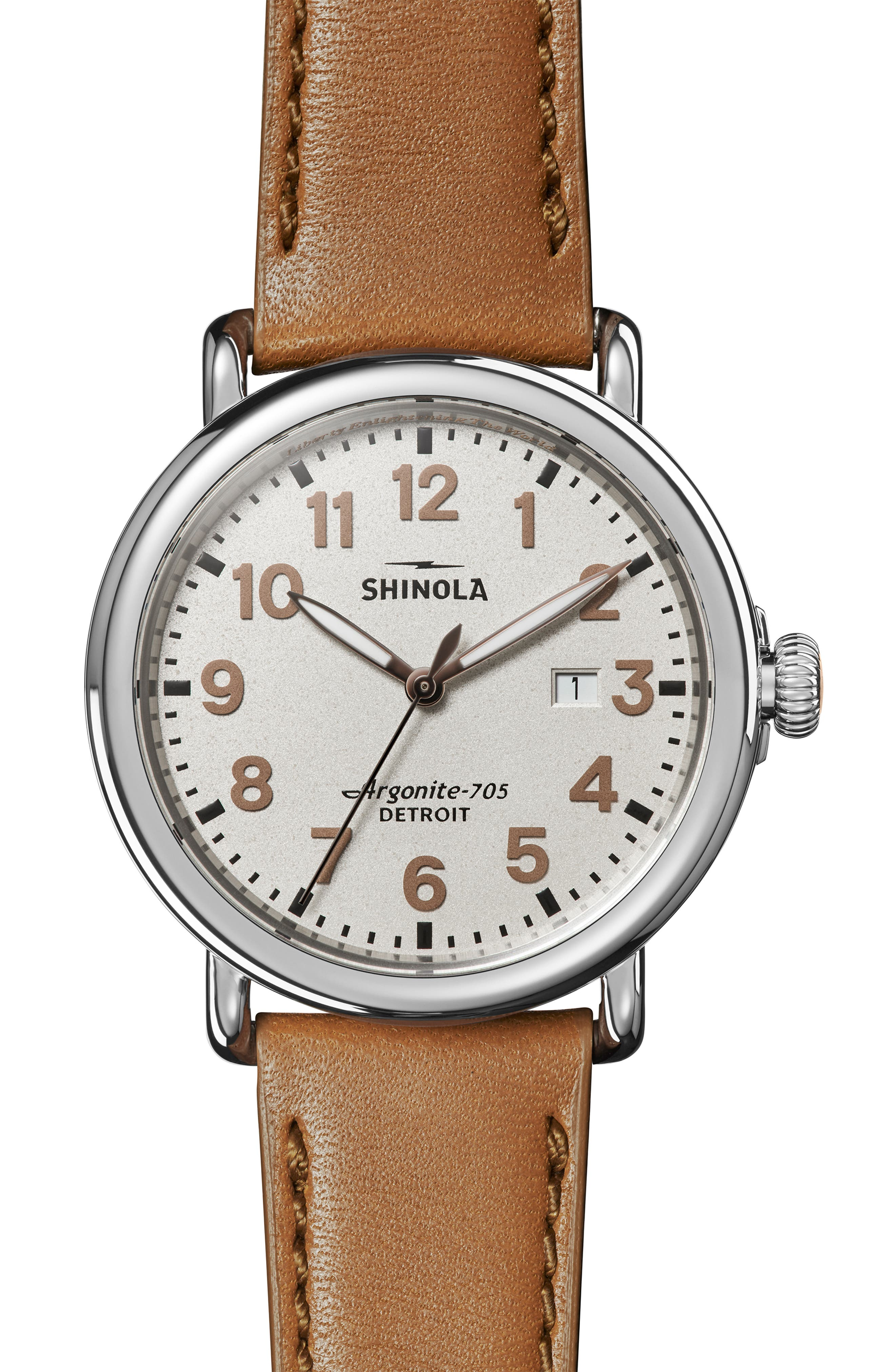 The Runwell - Statue of Liberty Leather Strap Watch, 41mm,                             Main thumbnail 1, color,                             BROWN/ GREY/ SILVER