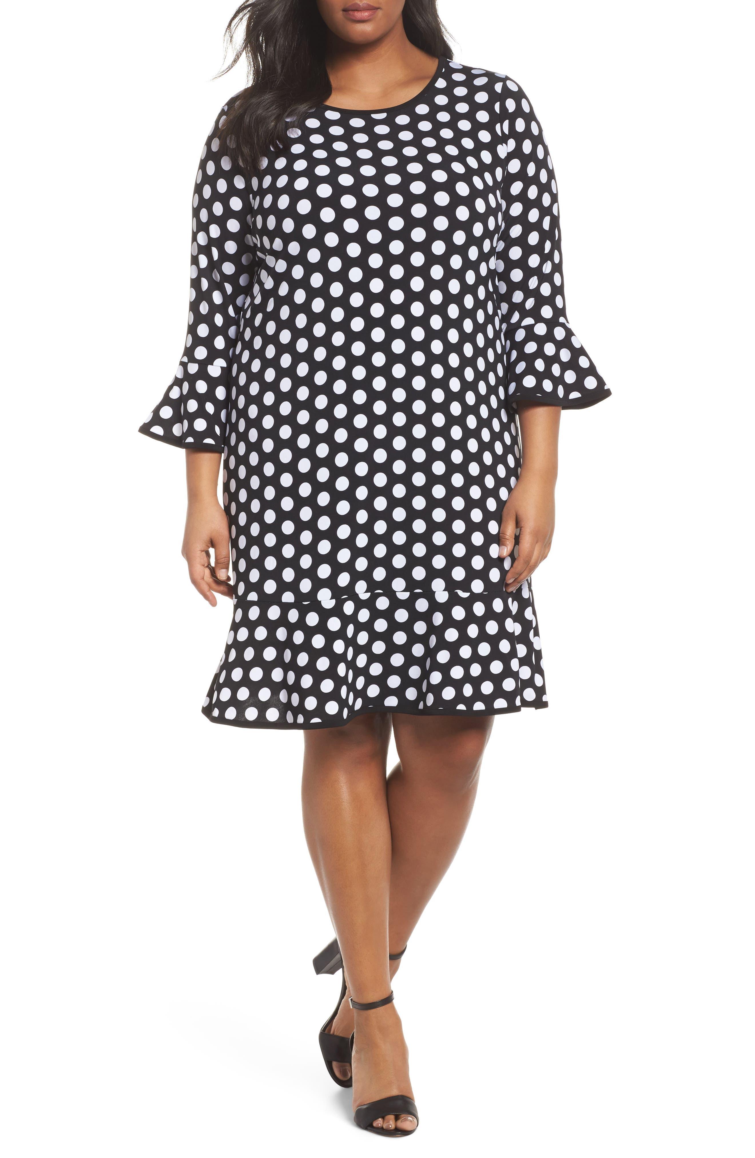 Simple Dot Flounce Dress,                             Main thumbnail 1, color,                             008
