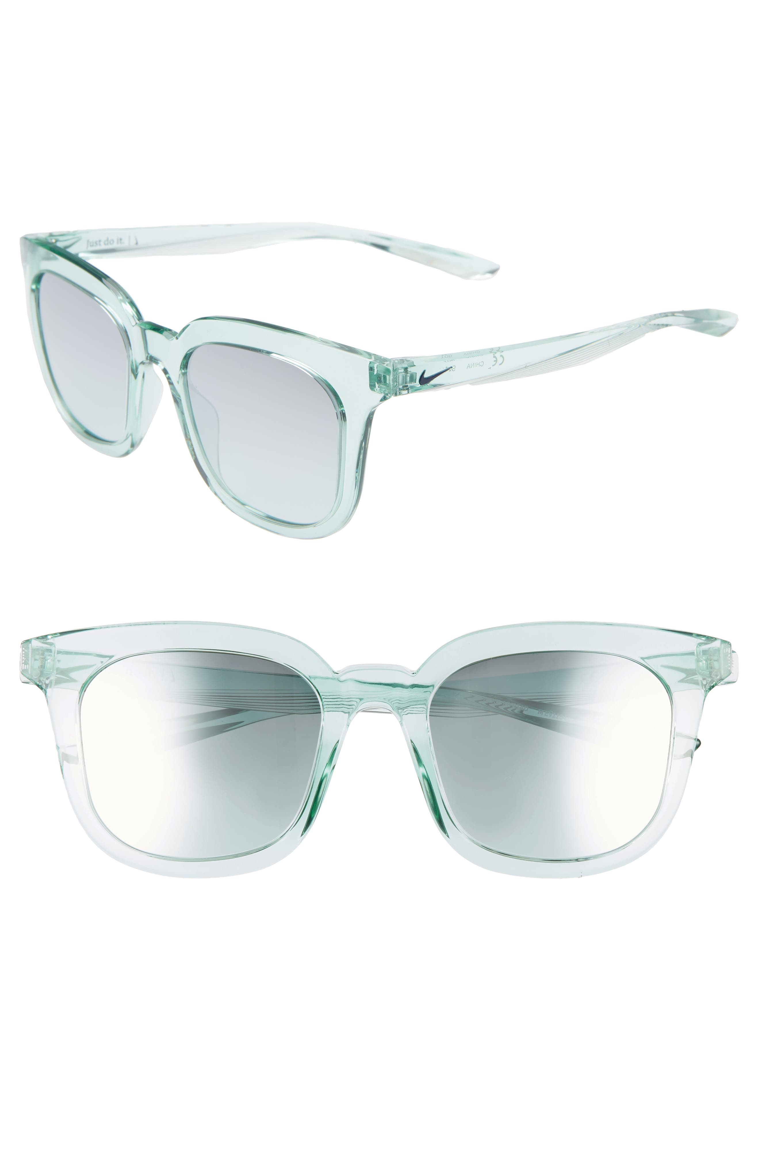 Nike Myriad 52Mm Mirrored Square Sunglasses - Igloo/ Gradient Teal