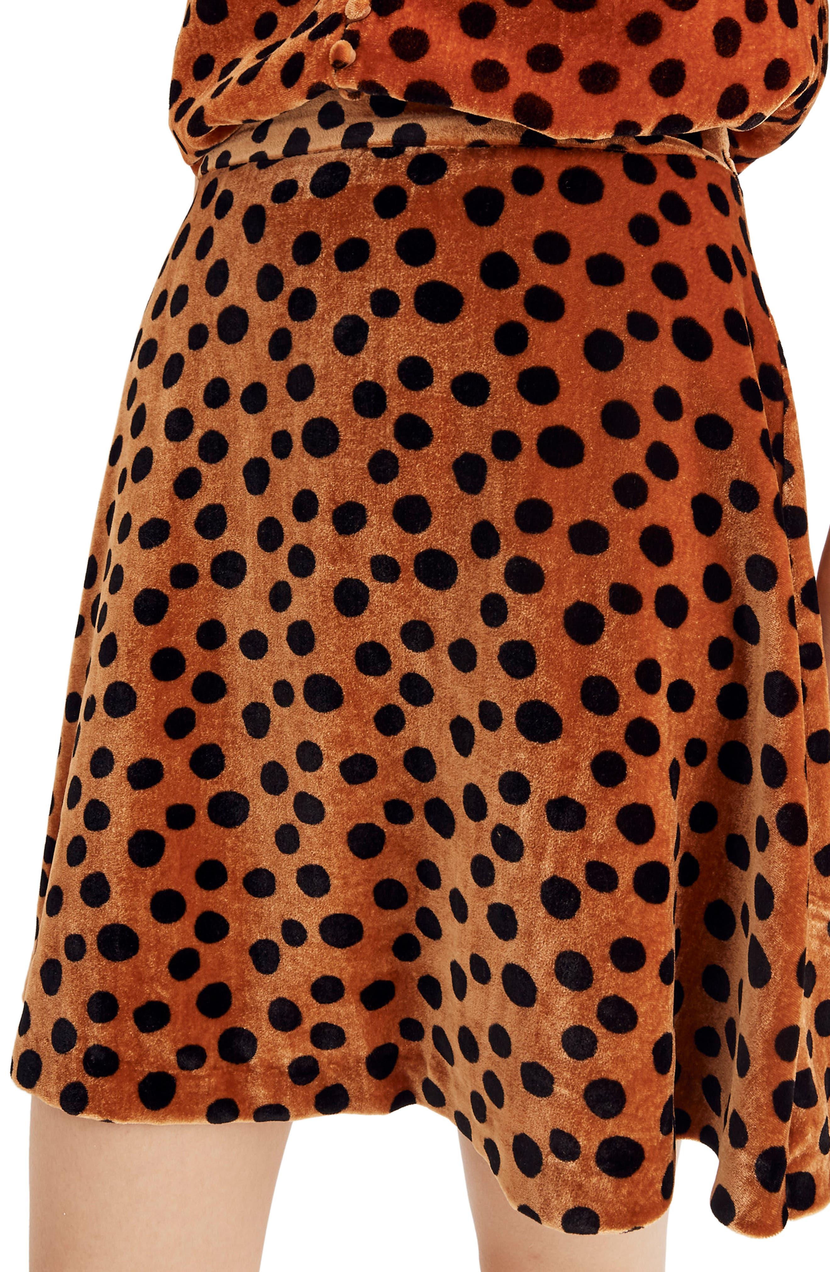 Velvet Circle Miniskirt,                             Alternate thumbnail 3, color,                             LEOPARD DOT BURNT SIENNA