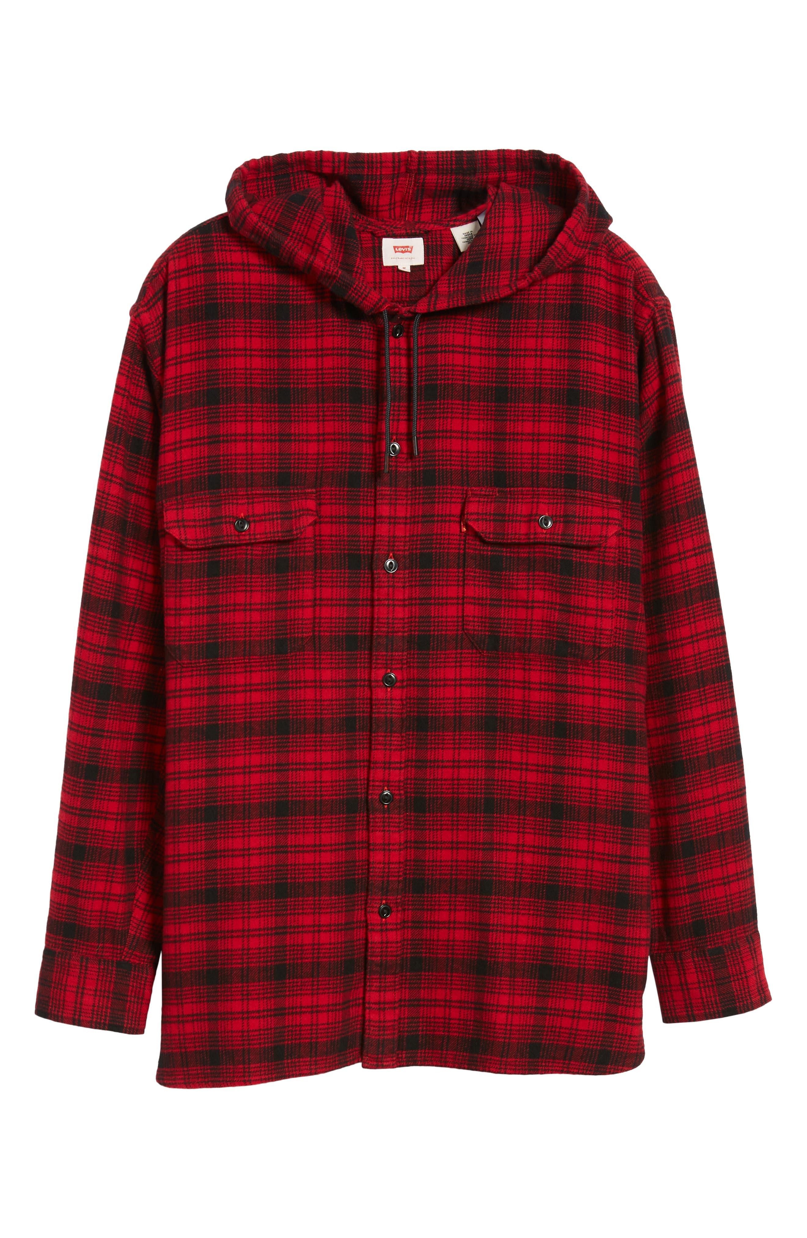 x Justin Timberlake Hooded Flannel Worker Shirt,                             Alternate thumbnail 7, color,                             SERVAL CRIMSON