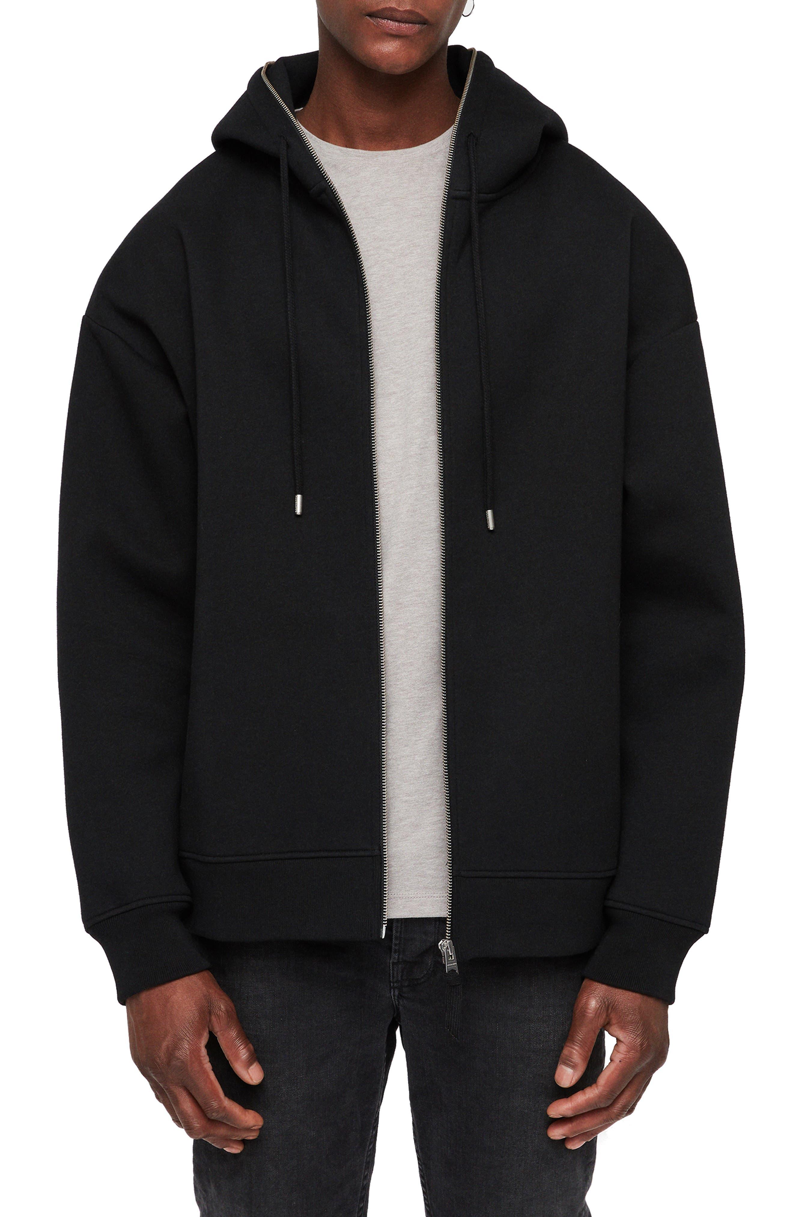 Hibard Regular Fit Zip Hoodie,                             Main thumbnail 1, color,                             JET BLACK