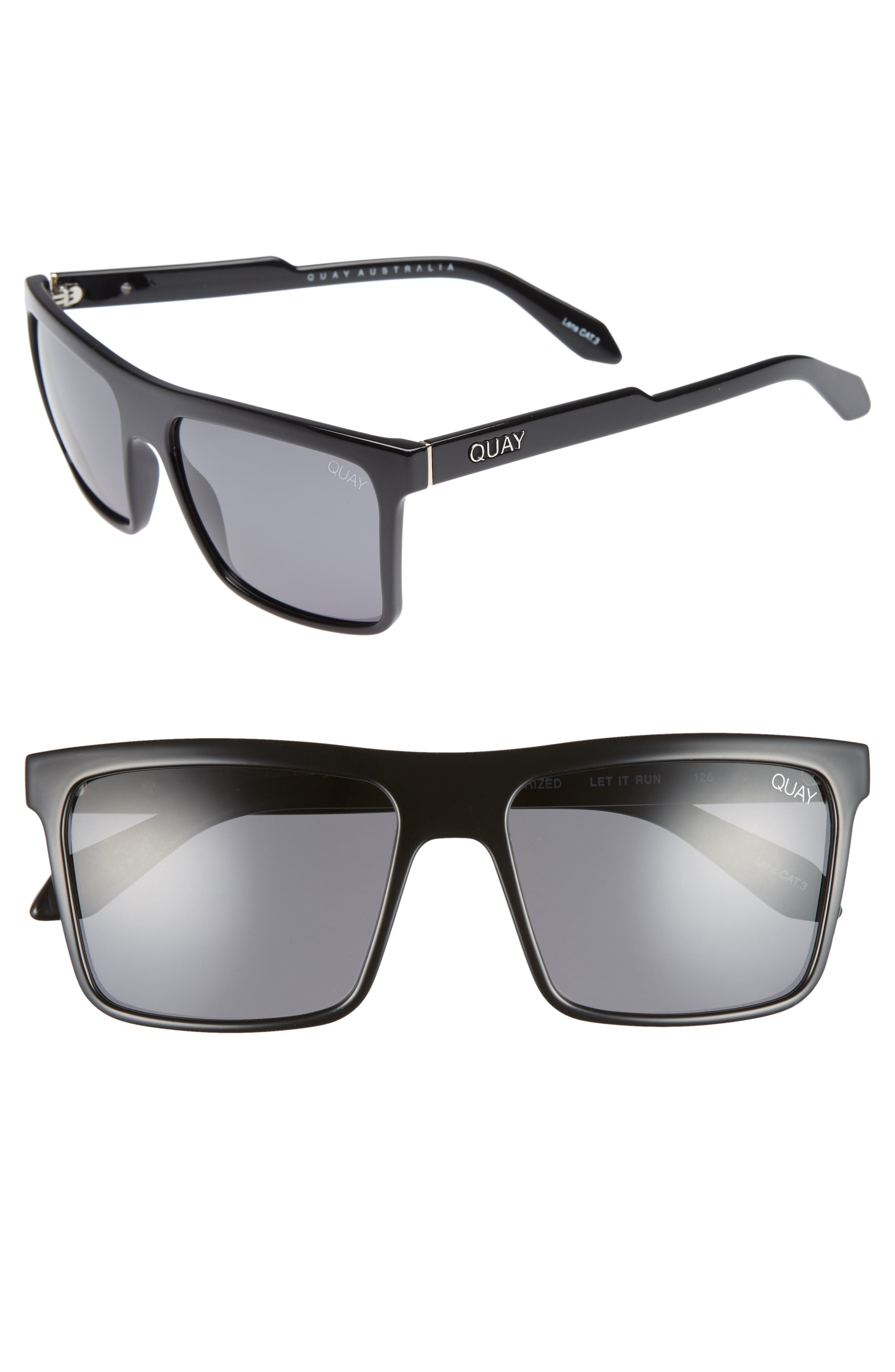 Let It Run 57mm Polarized Sunglasses,                             Main thumbnail 1, color,                             BLACK / SMOKE LENS