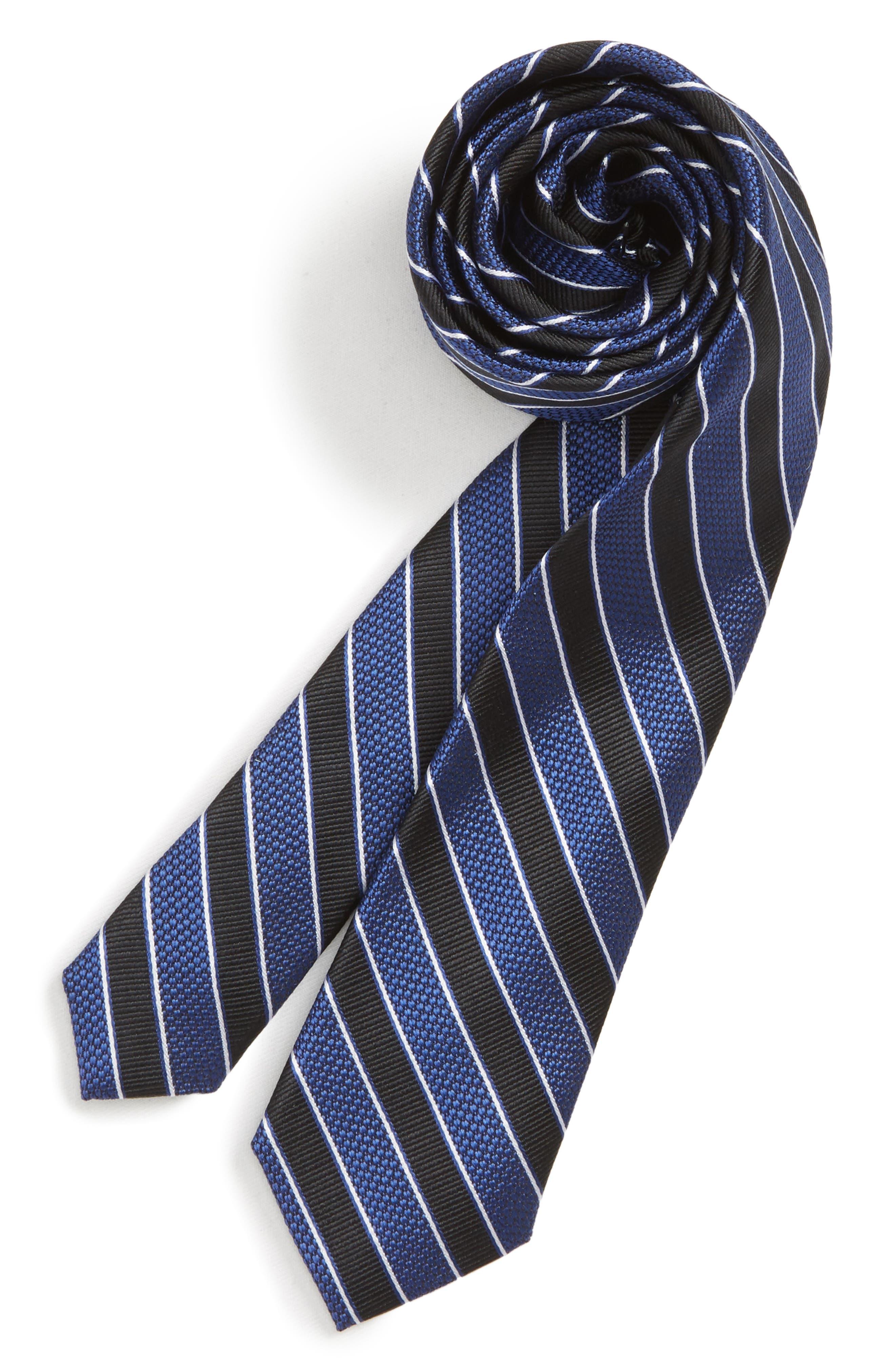 Stripe Silk Tie,                         Main,                         color, BLACK