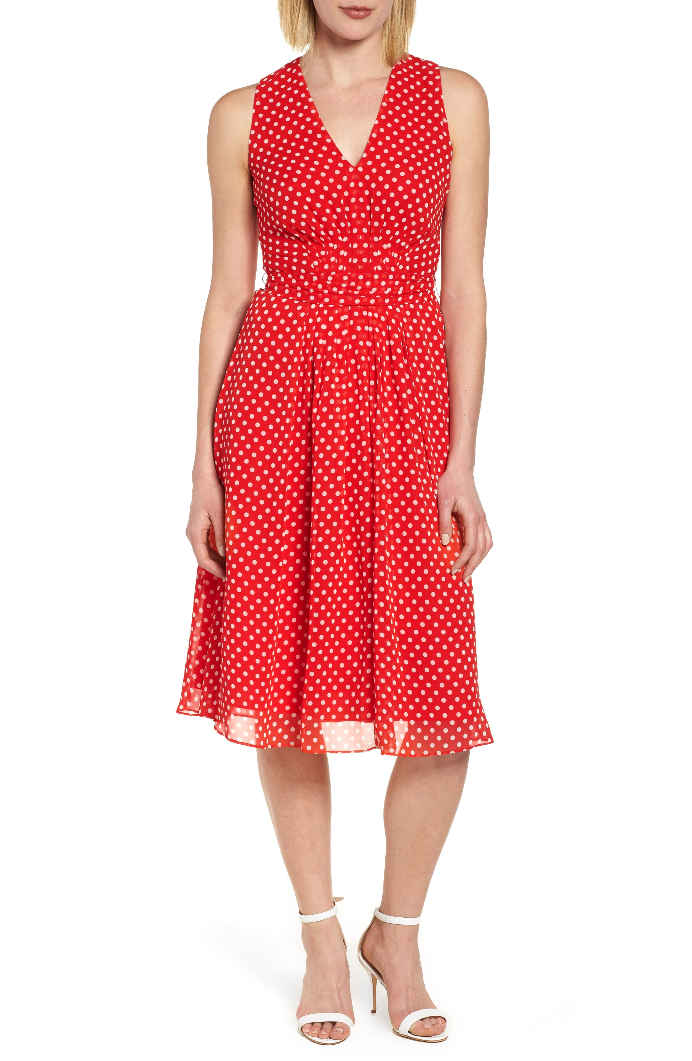 Polka Dot A-Line Dress,                             Main thumbnail 1, color,                             600