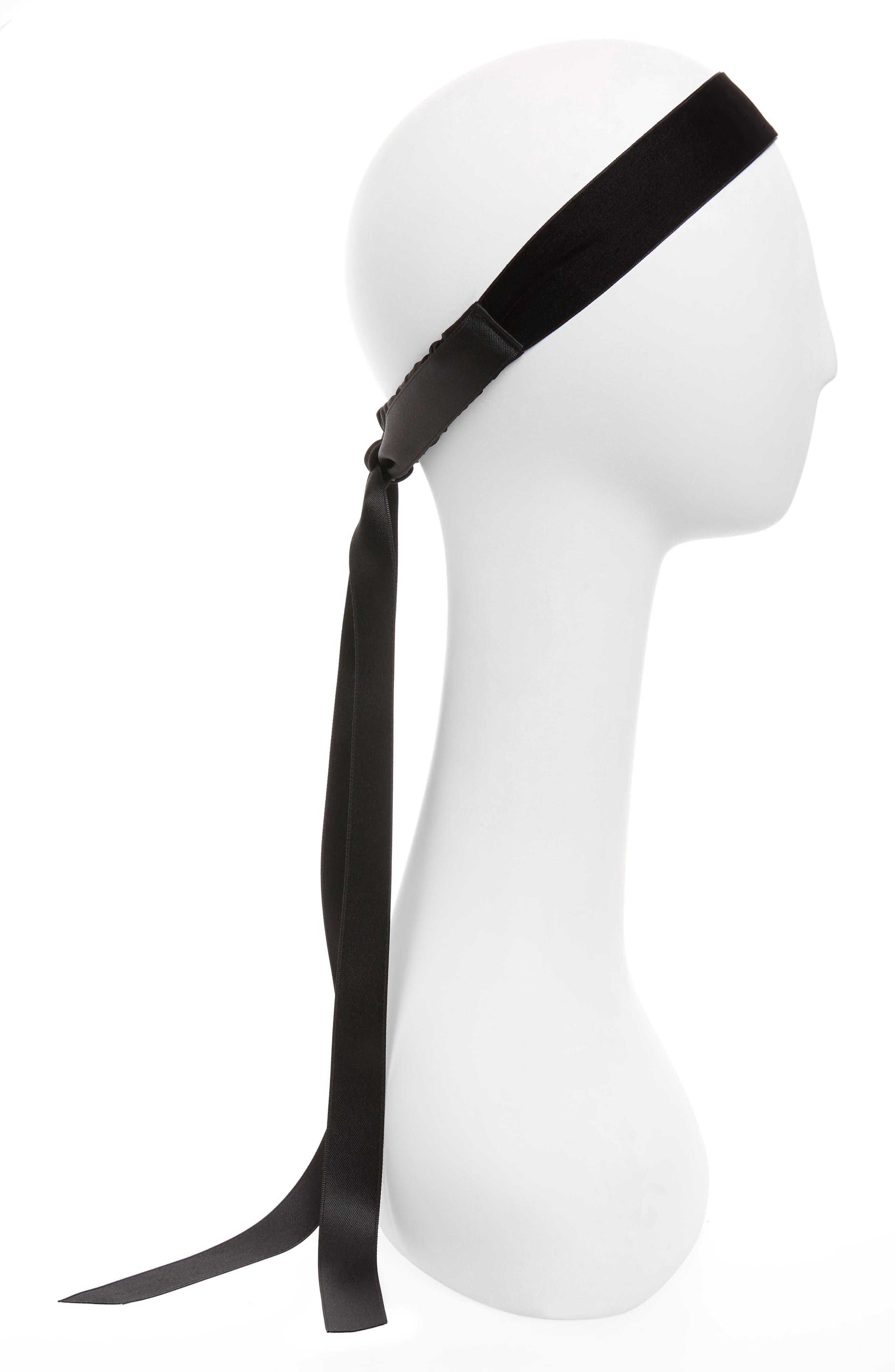 Satin Bow Head Wrap,                         Main,                         color, BLACK