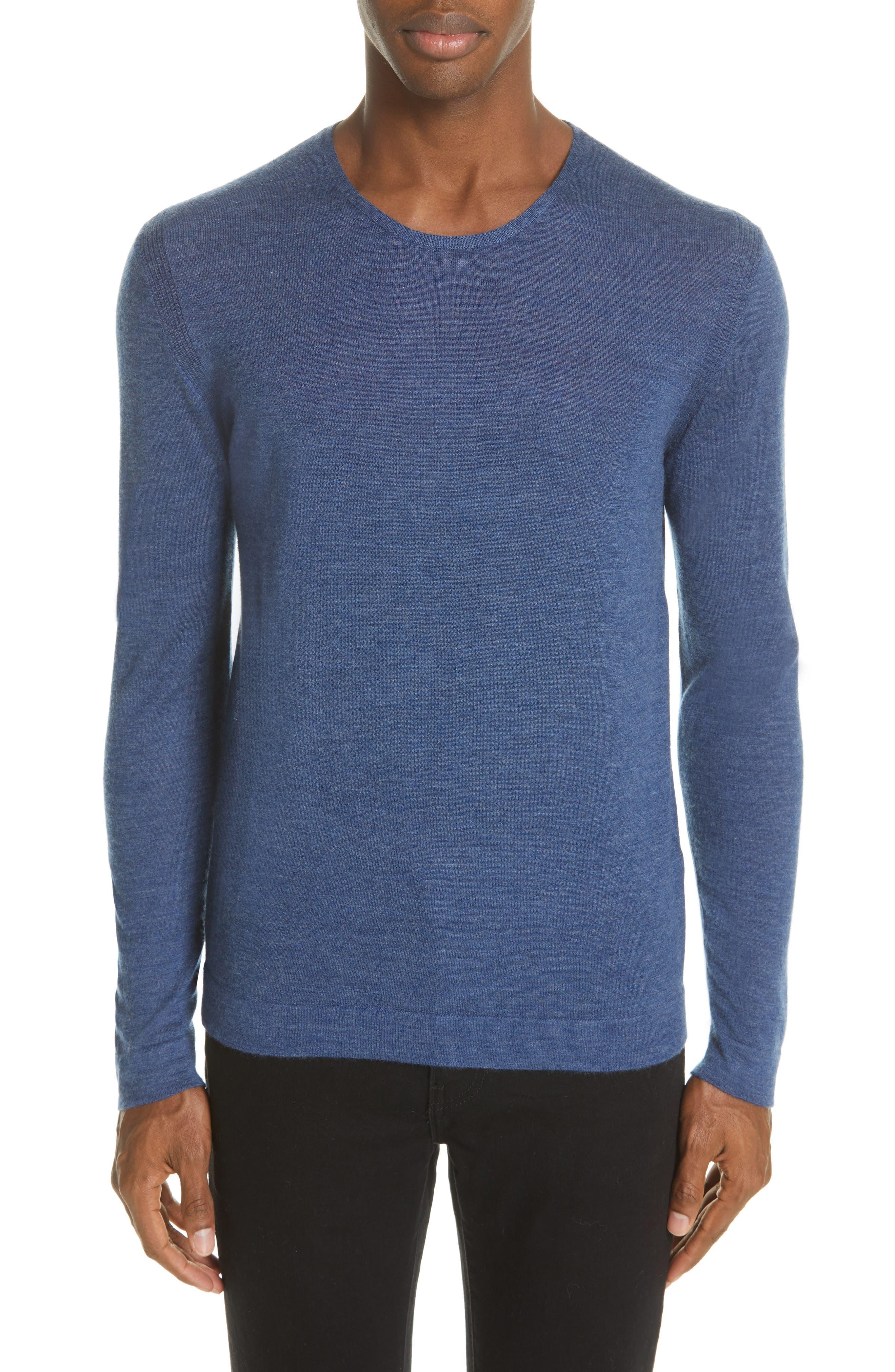 Cashmere Crewneck Sweater,                             Main thumbnail 1, color,                             SAPPHIRE