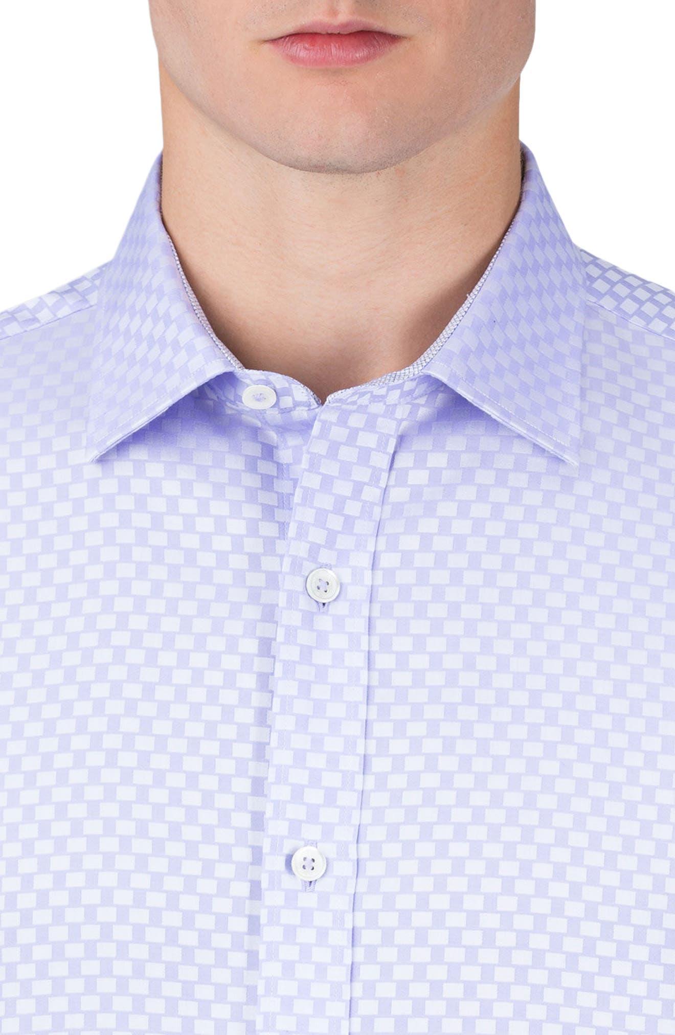 Shaped Fit Rectangle Jacquard Sport Shirt,                             Alternate thumbnail 7, color,