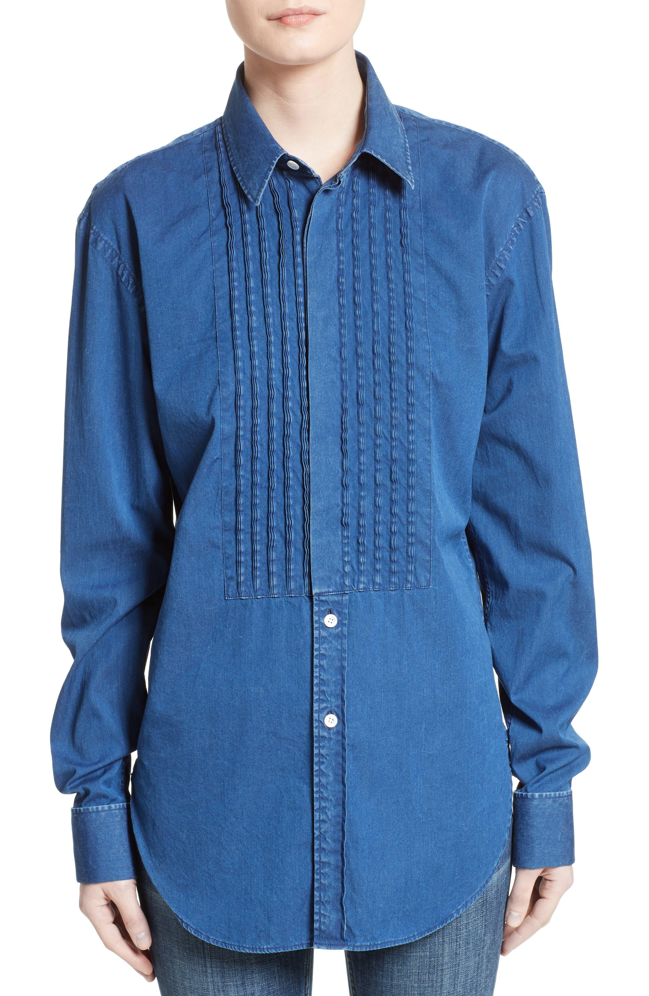 Jaden Pintuck Denim Shirt,                         Main,                         color, 409