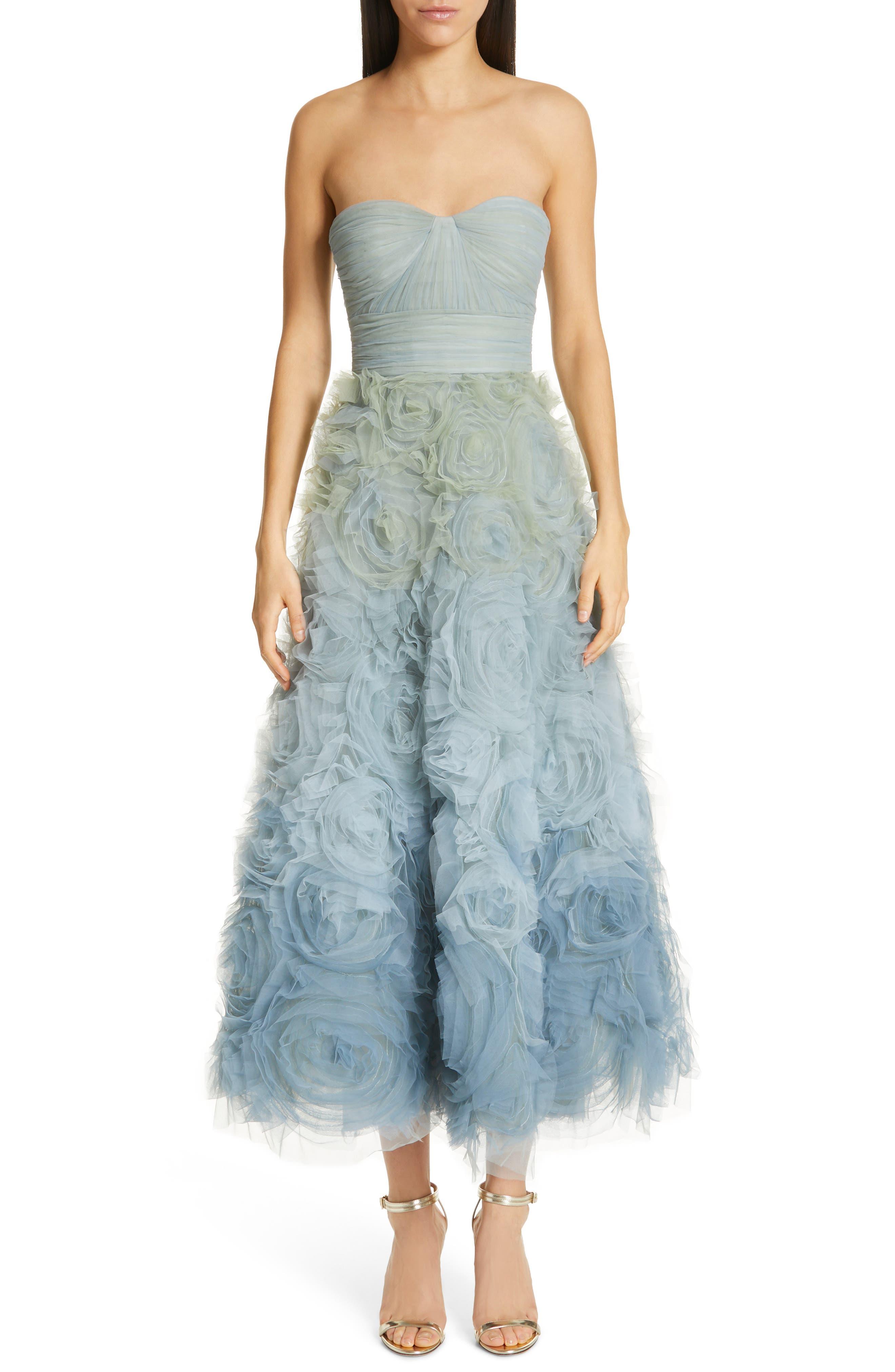 Marchesa Notte Ombre Strapless Evening Dress, Blue