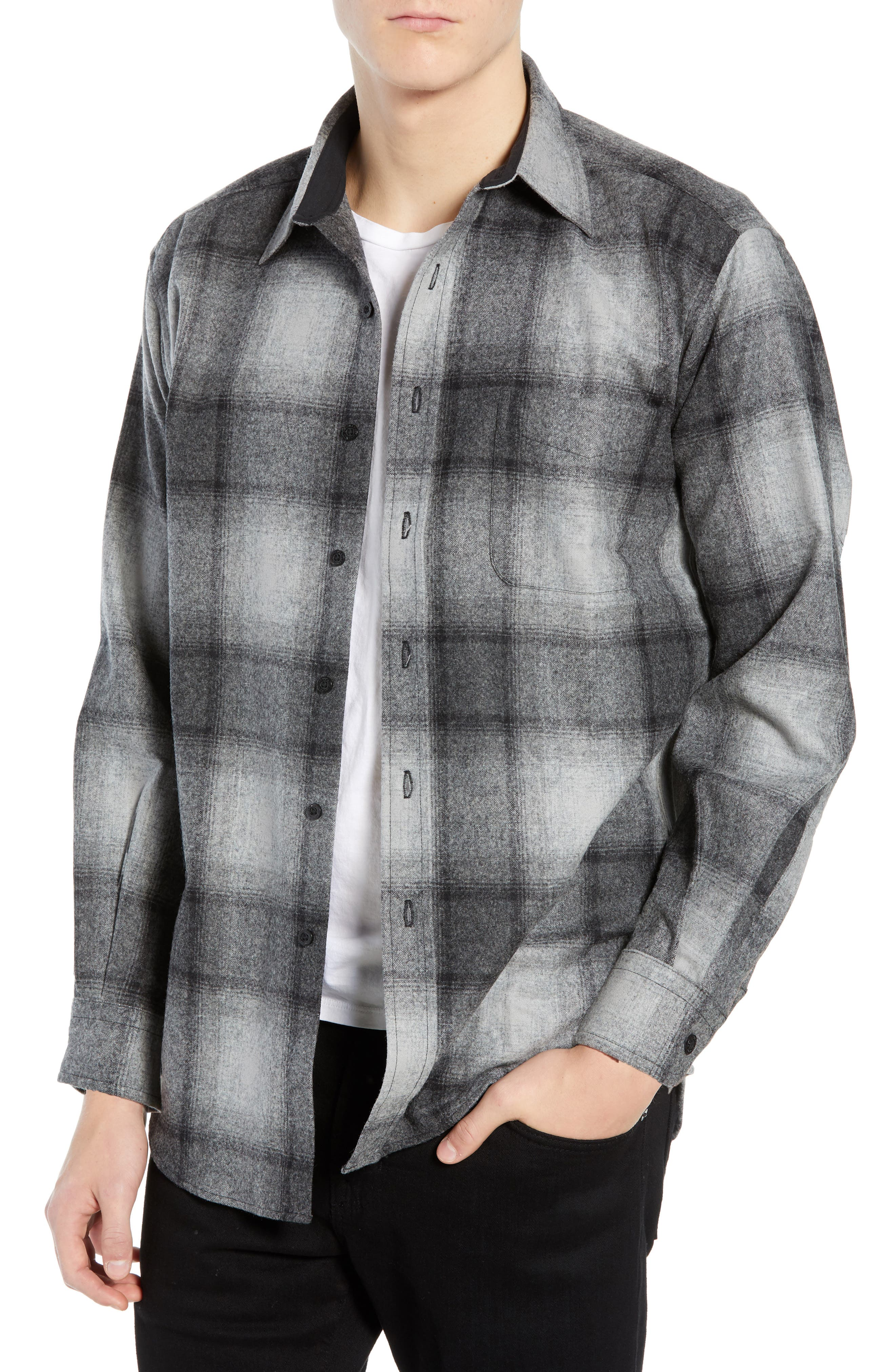 Lodge Wool Flannel Shirt,                             Main thumbnail 1, color,                             BLACK/ GREY MIX OMBRE