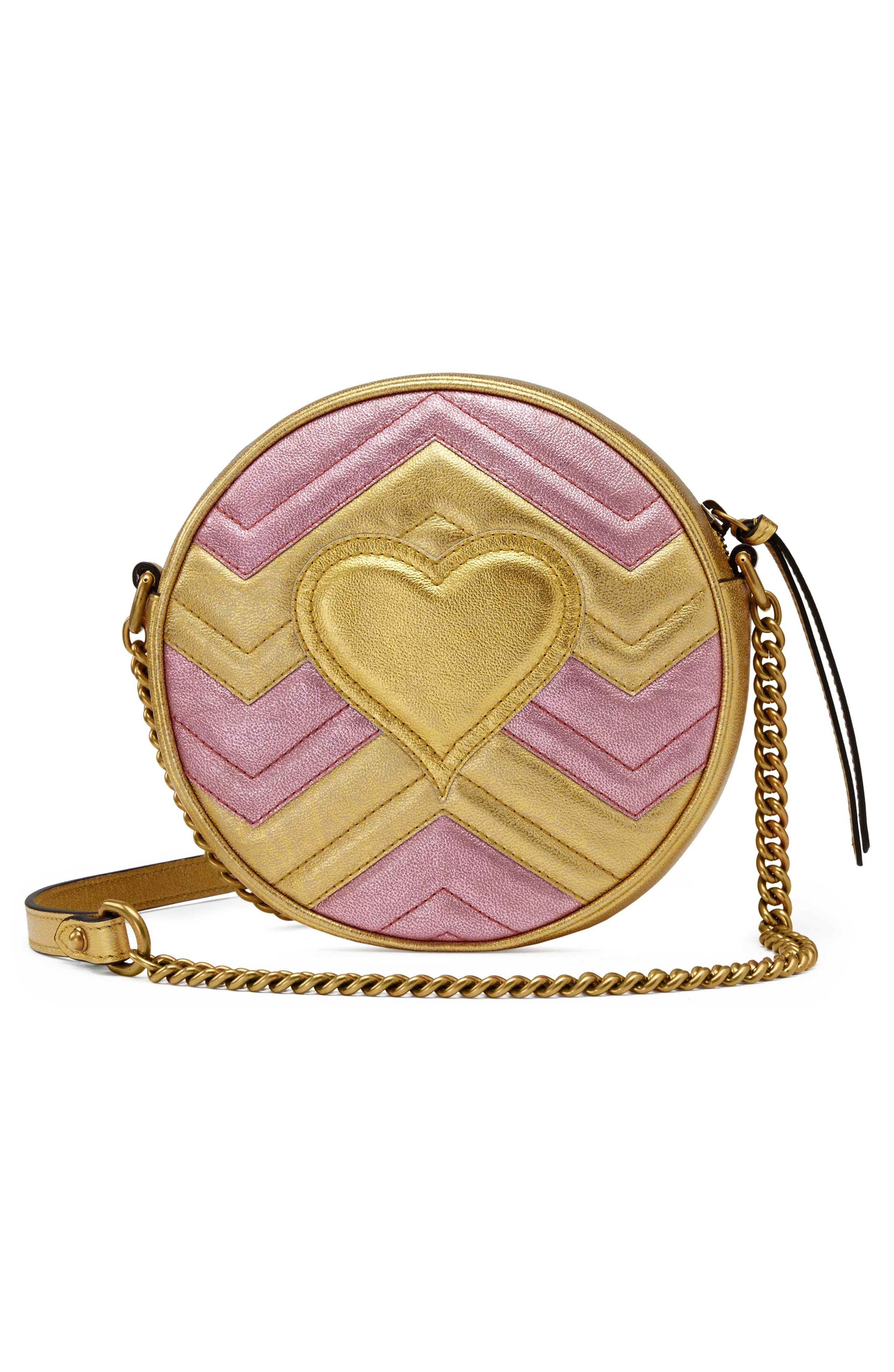 Marmont 2.0 Mini Leather Circle Crossbody Bag,                             Alternate thumbnail 2, color,                             ORO/ ROSA