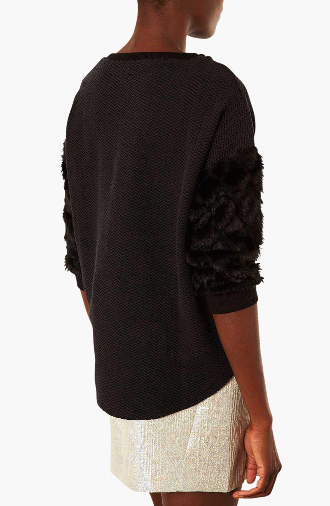 Faux Fur Sleeve Sweatshirt,                             Alternate thumbnail 4, color,                             001