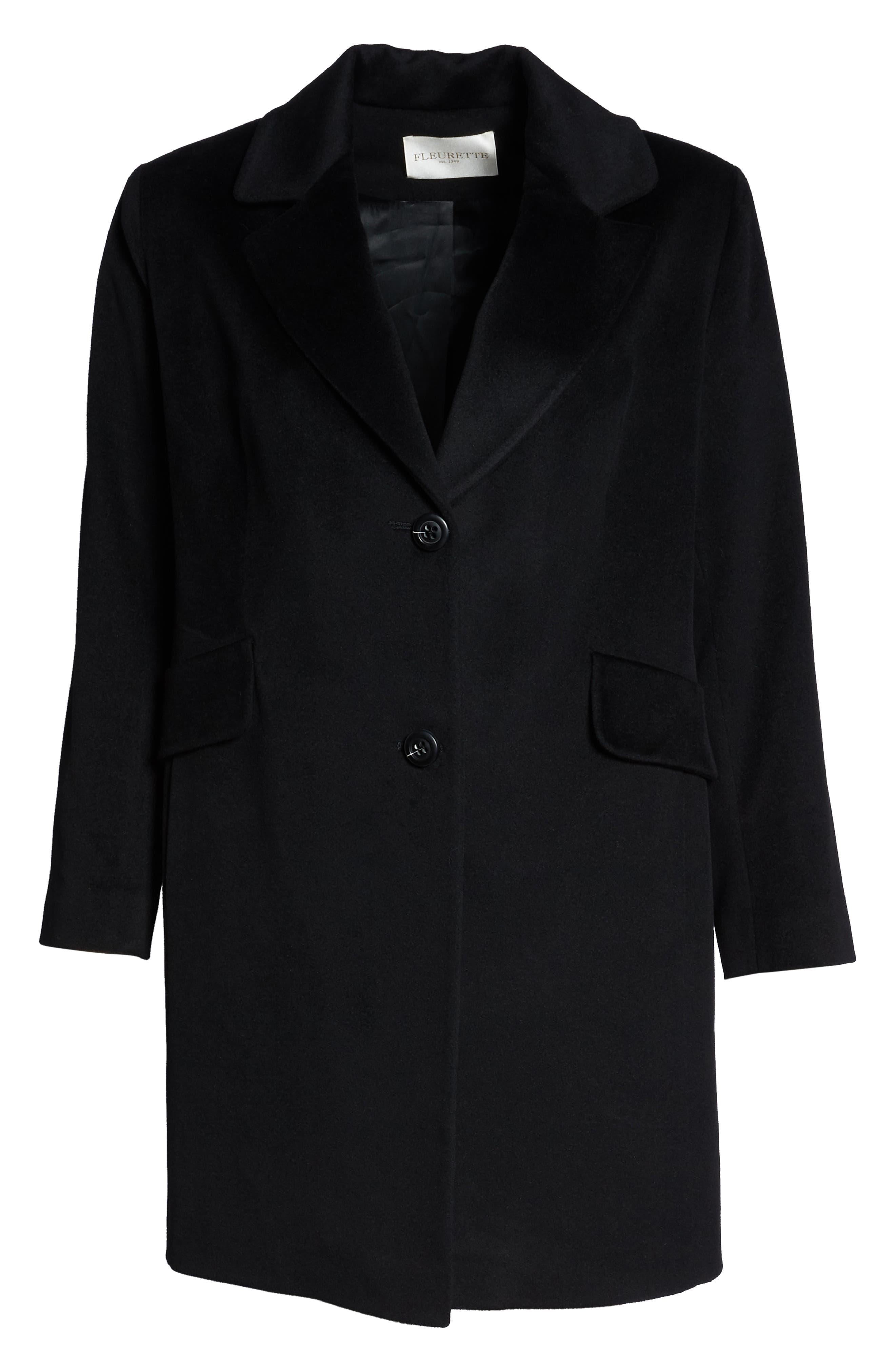 FLEURETTE,                             Notch Collar Loro Piana Wool Coat,                             Alternate thumbnail 6, color,                             BLACK