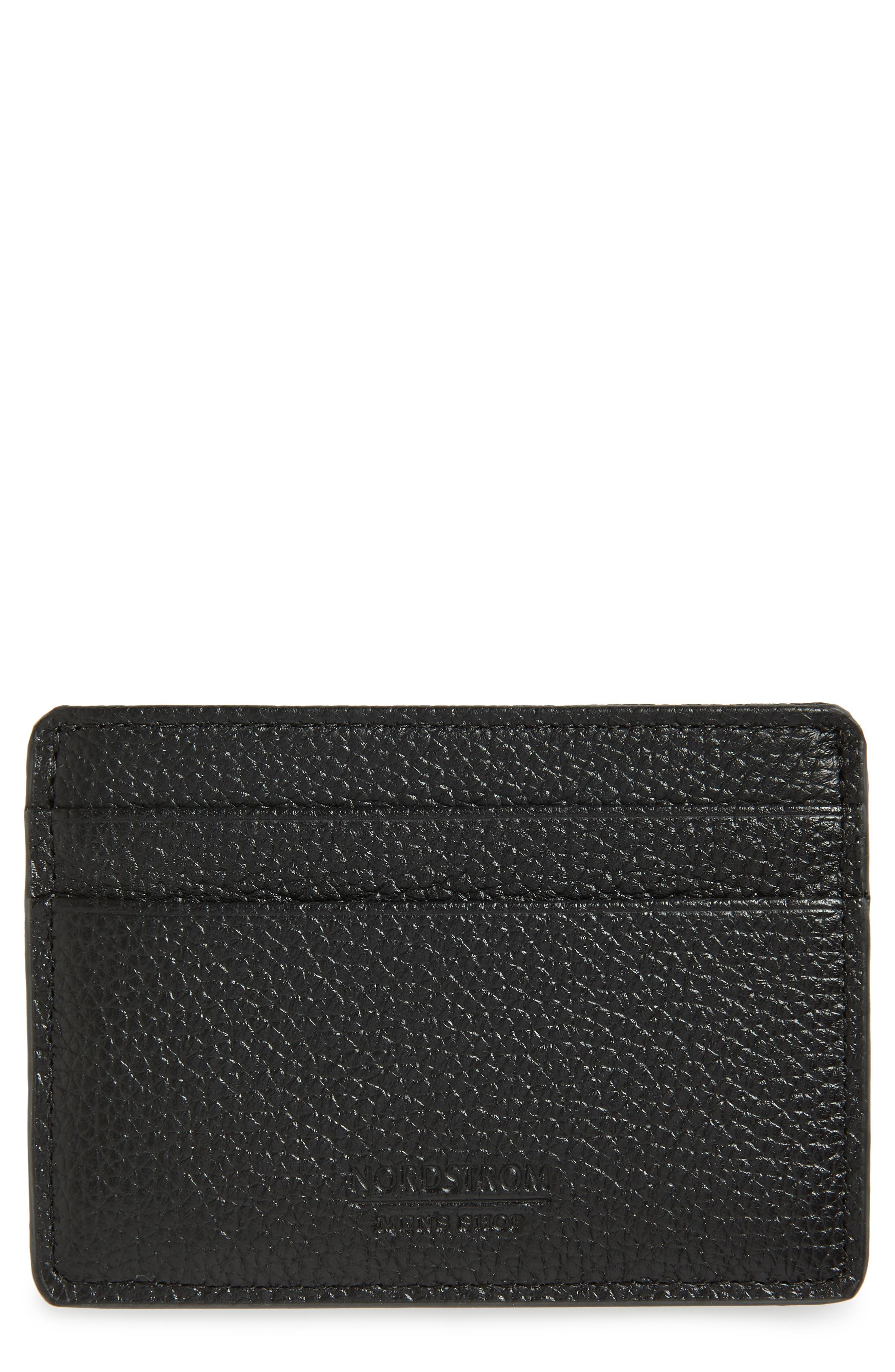 Midland RFID Leather Card Case,                             Main thumbnail 1, color,                             BLACK