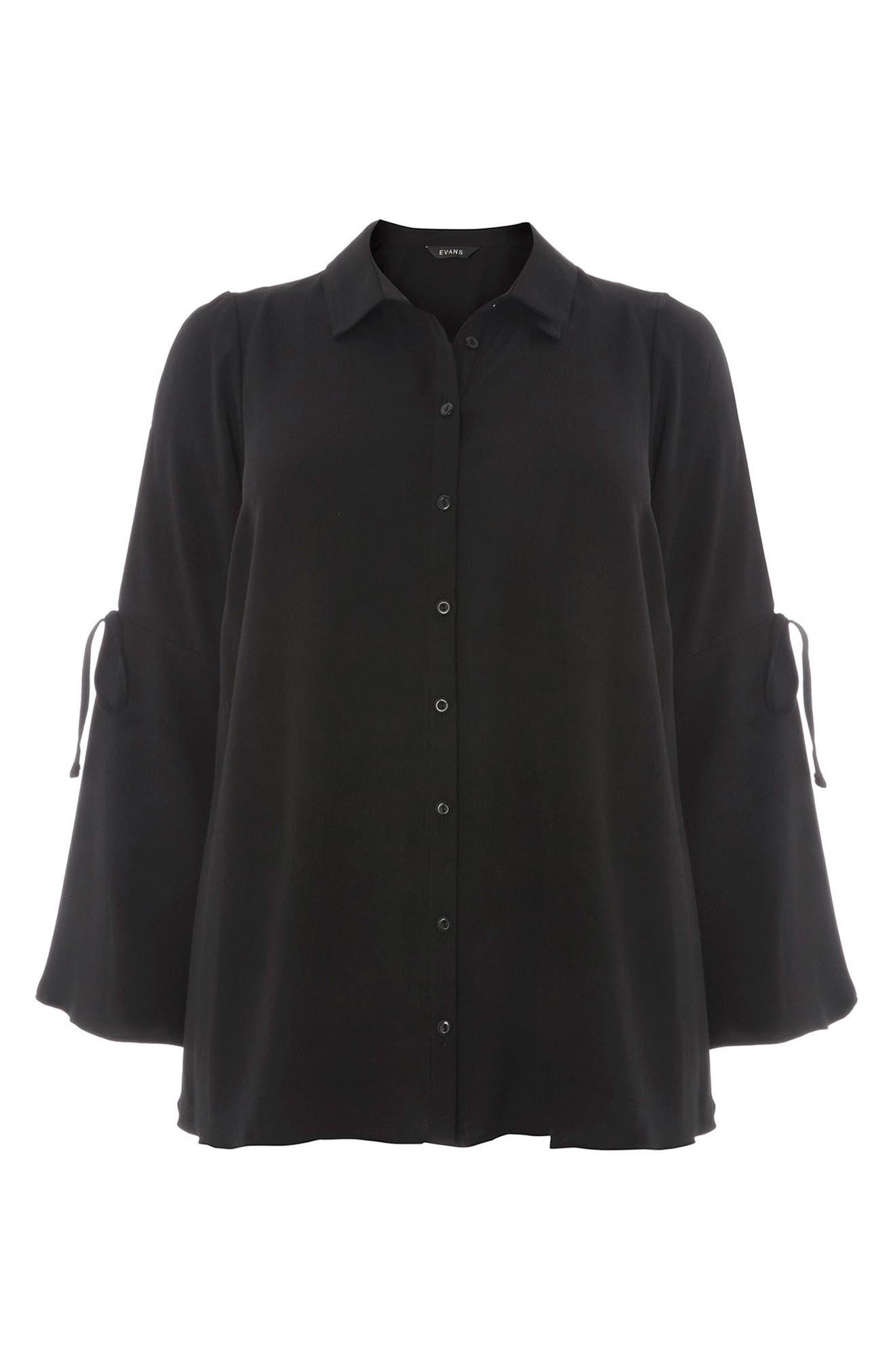 Tie Sleeve Button Shirt,                             Alternate thumbnail 3, color,                             001