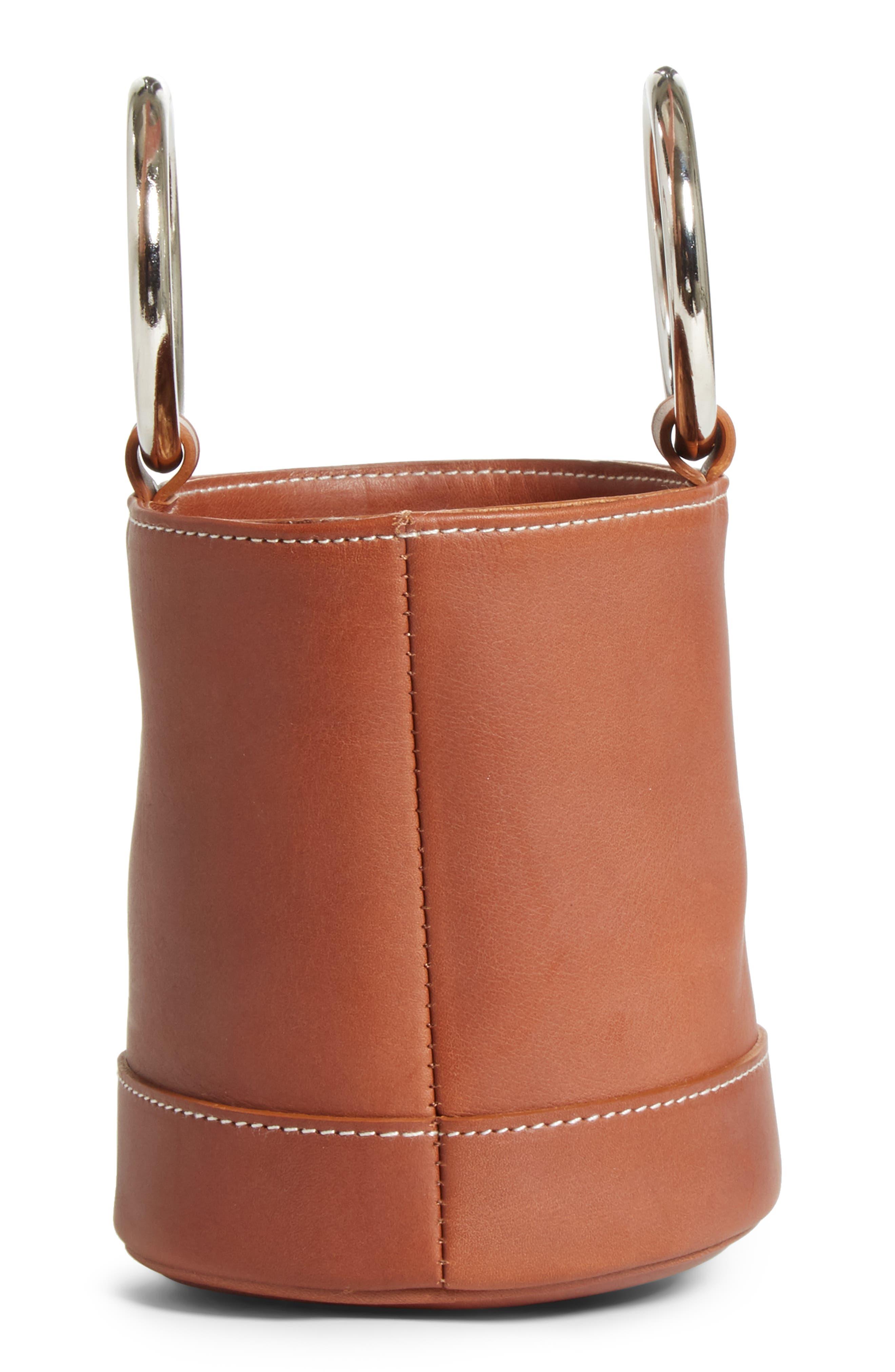 Bonsai 15 Calfskin Leather Bucket Bag,                             Alternate thumbnail 5, color,                             DARK TAN
