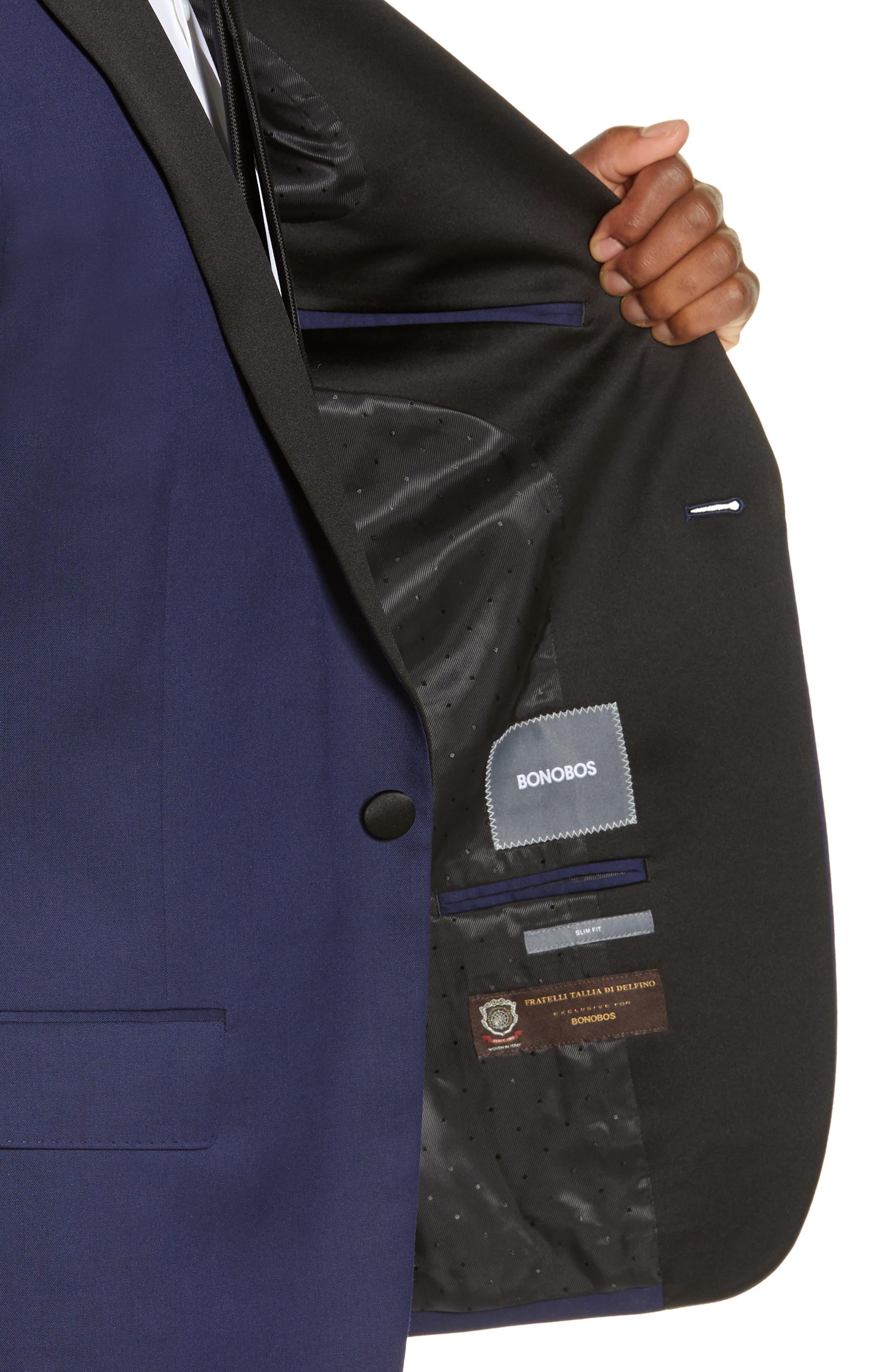 Capstone Slim Fit Italian Wool Blend Dinner Jacket,                             Alternate thumbnail 4, color,                             NAVY