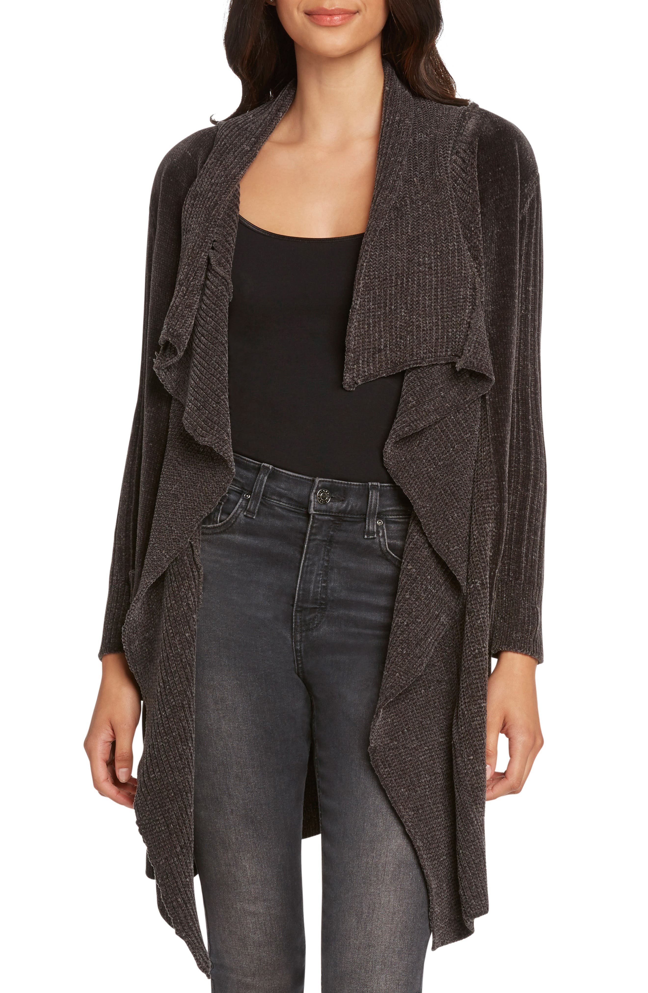 WILLOW & CLAY Chenille Shawl Collar Cardigan in Charcoal