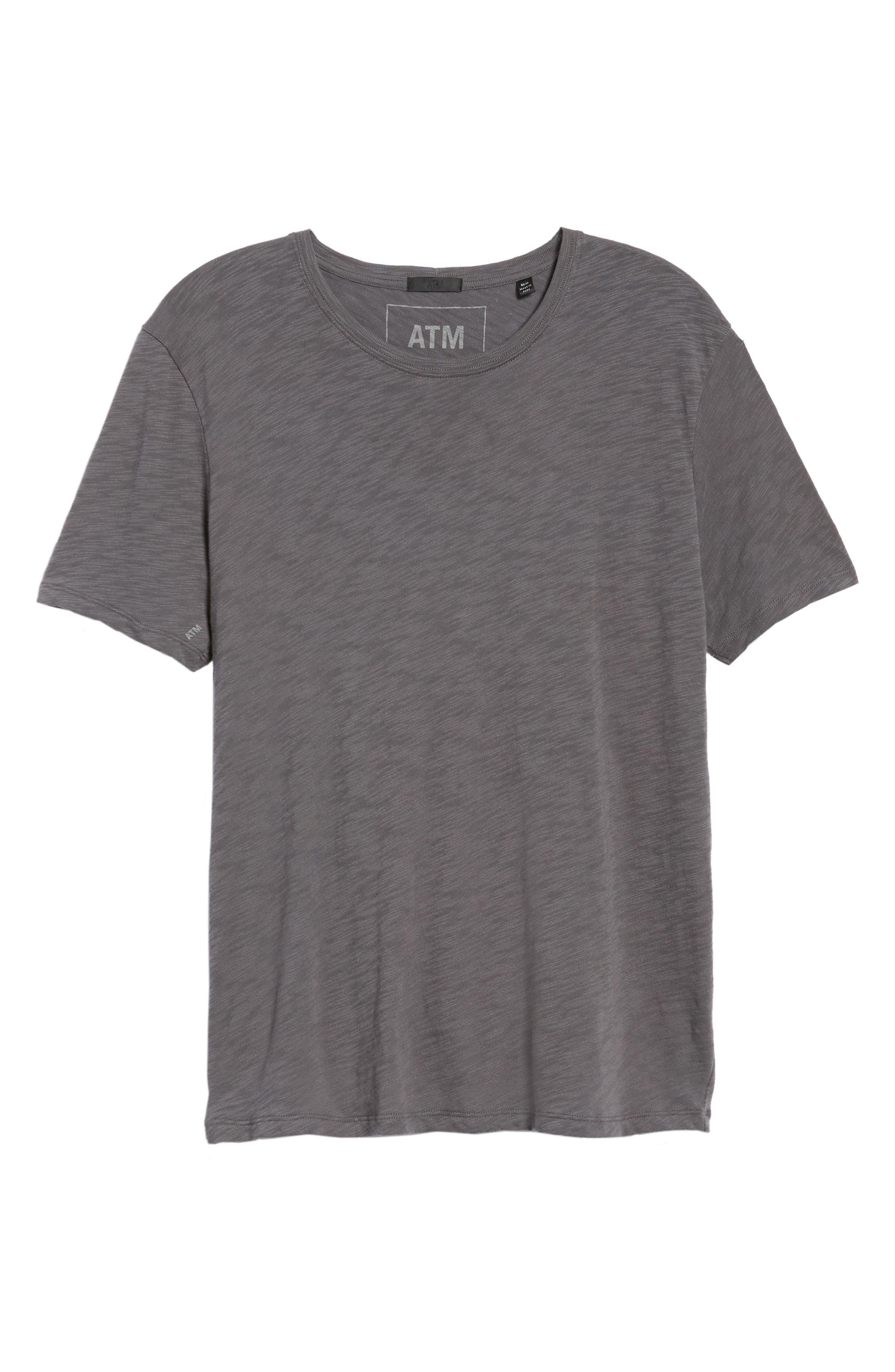 Crewneck T-Shirt,                             Alternate thumbnail 6, color,                             CHARCOAL