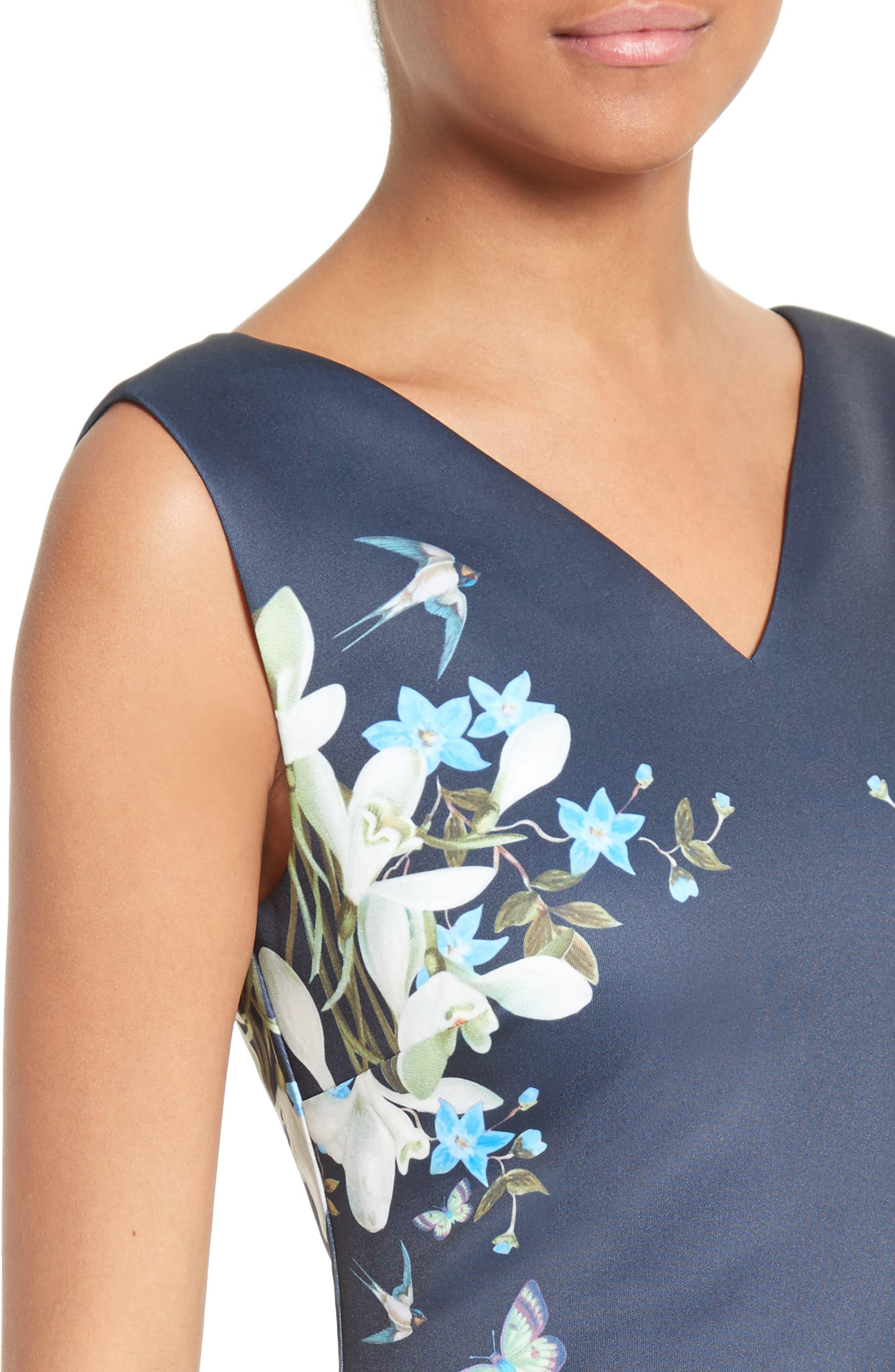 Katiey Placed Print Sheath Dress,                             Alternate thumbnail 4, color,                             402