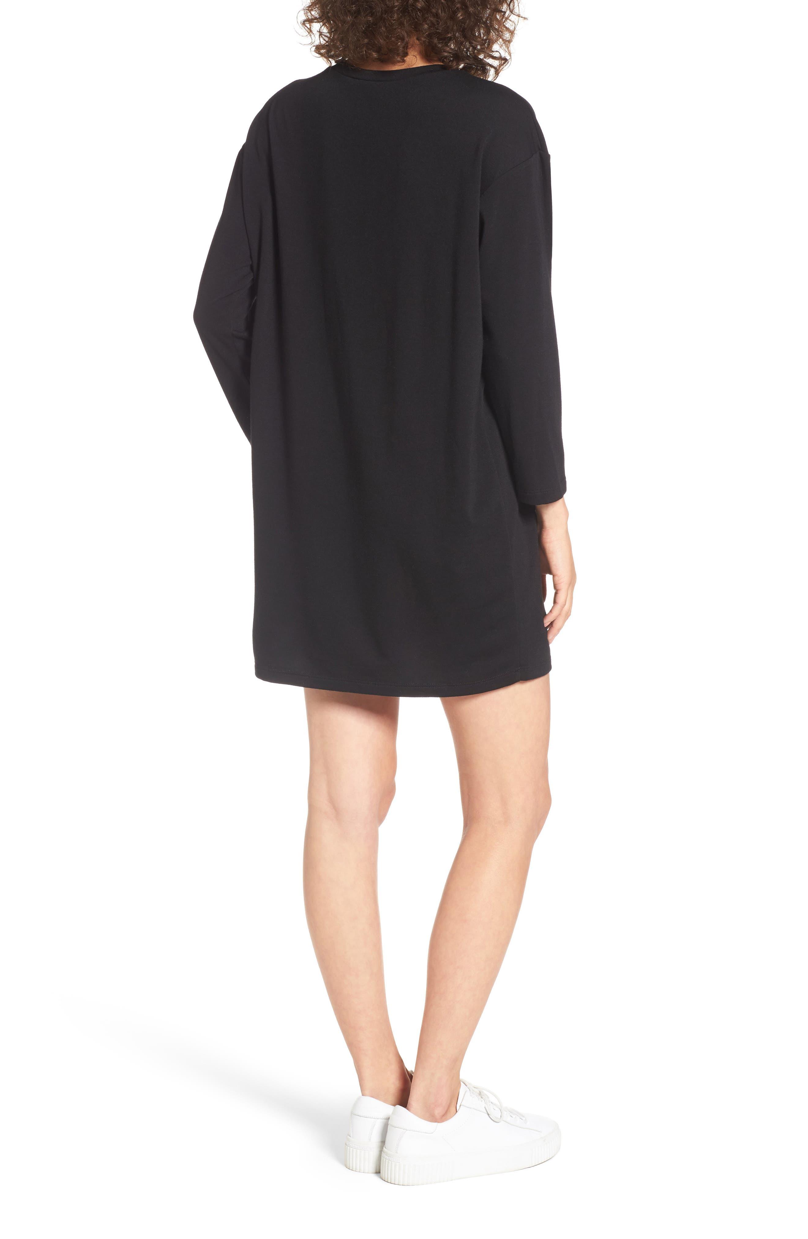 Tulle Ruffle Sweatshirt Dress,                             Alternate thumbnail 2, color,                             001