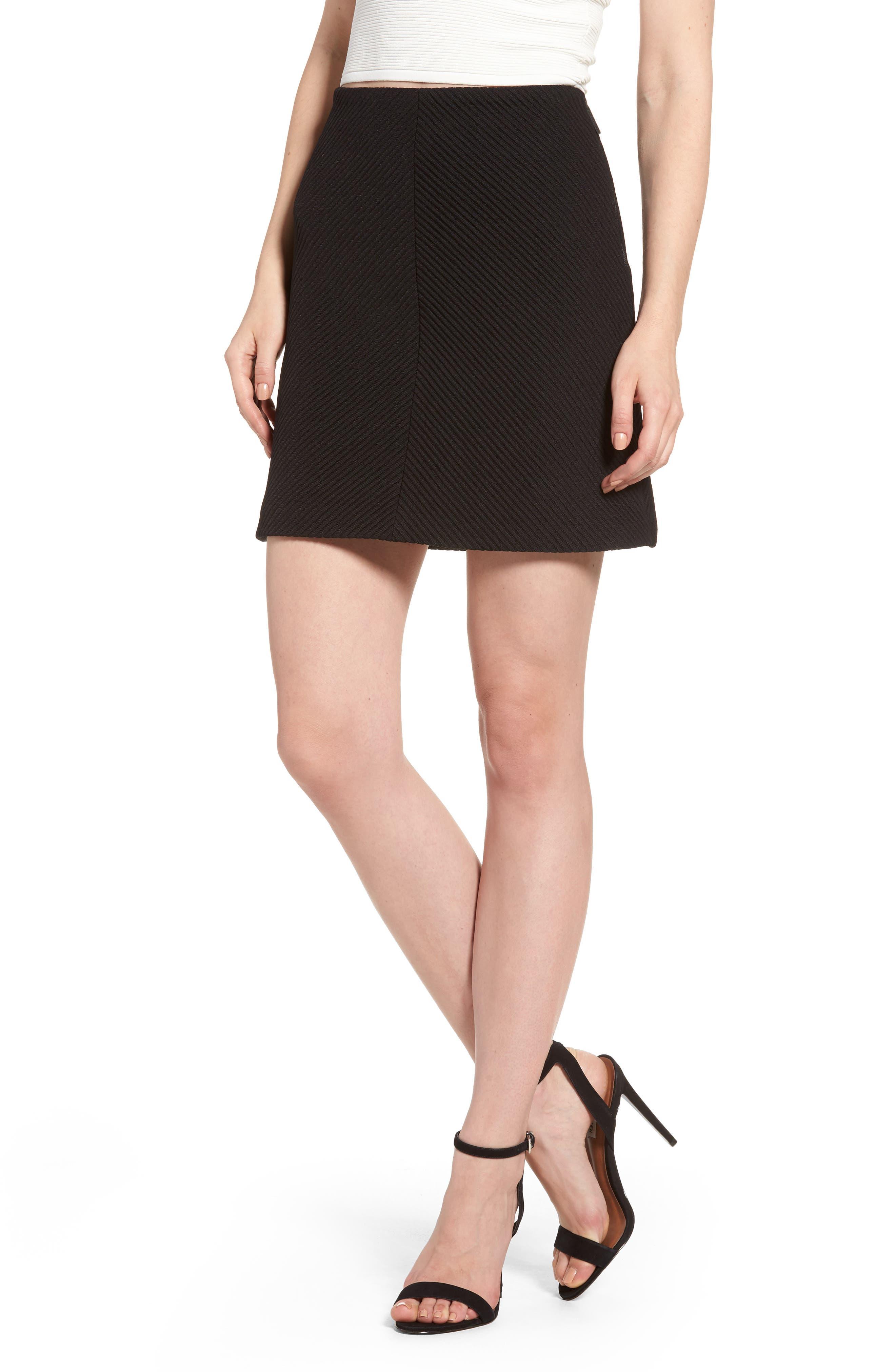 A-Line Knit Miniskirt,                             Main thumbnail 1, color,                             001