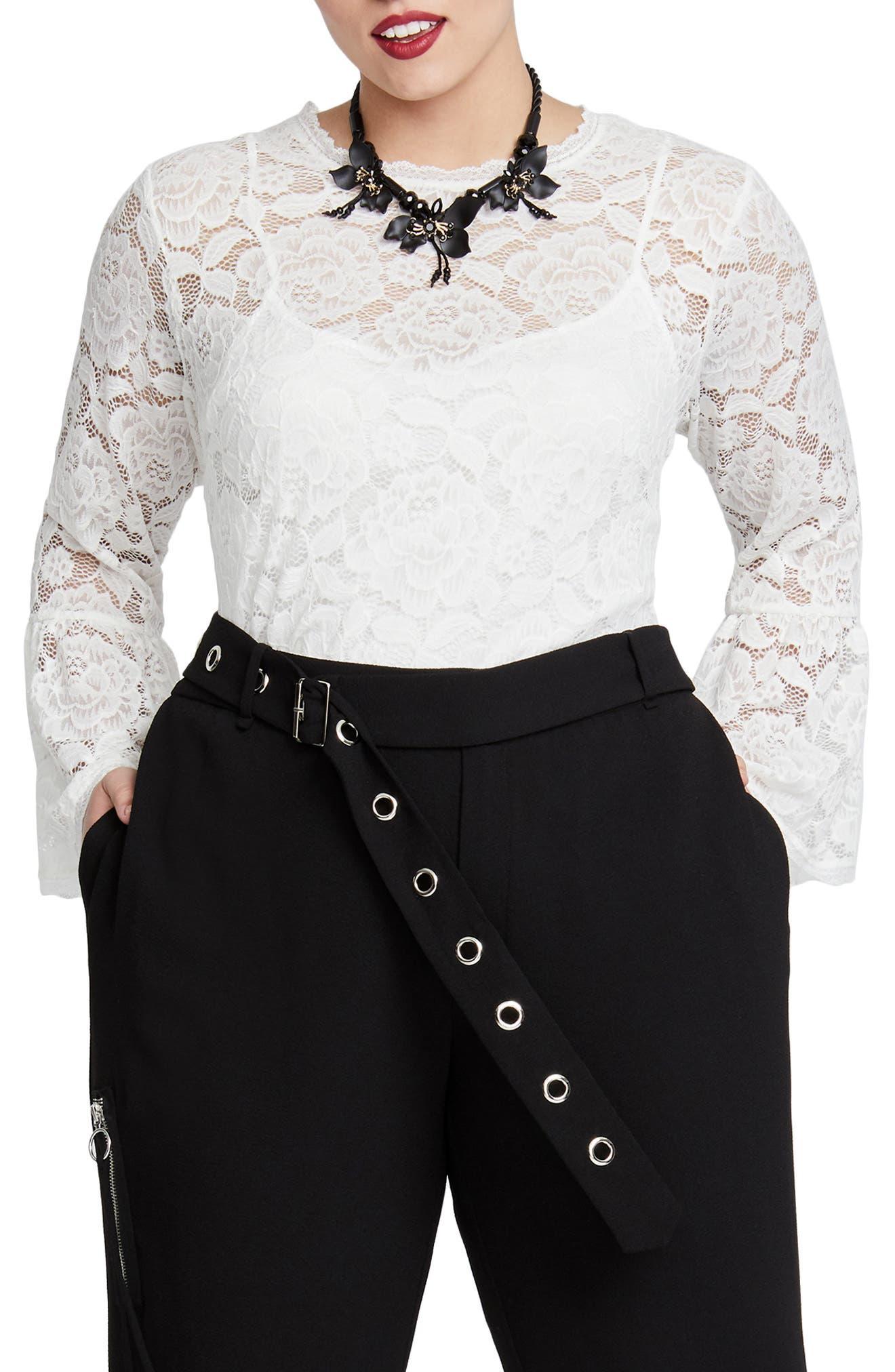 Vivian Lace Top,                         Main,                         color, WHITE