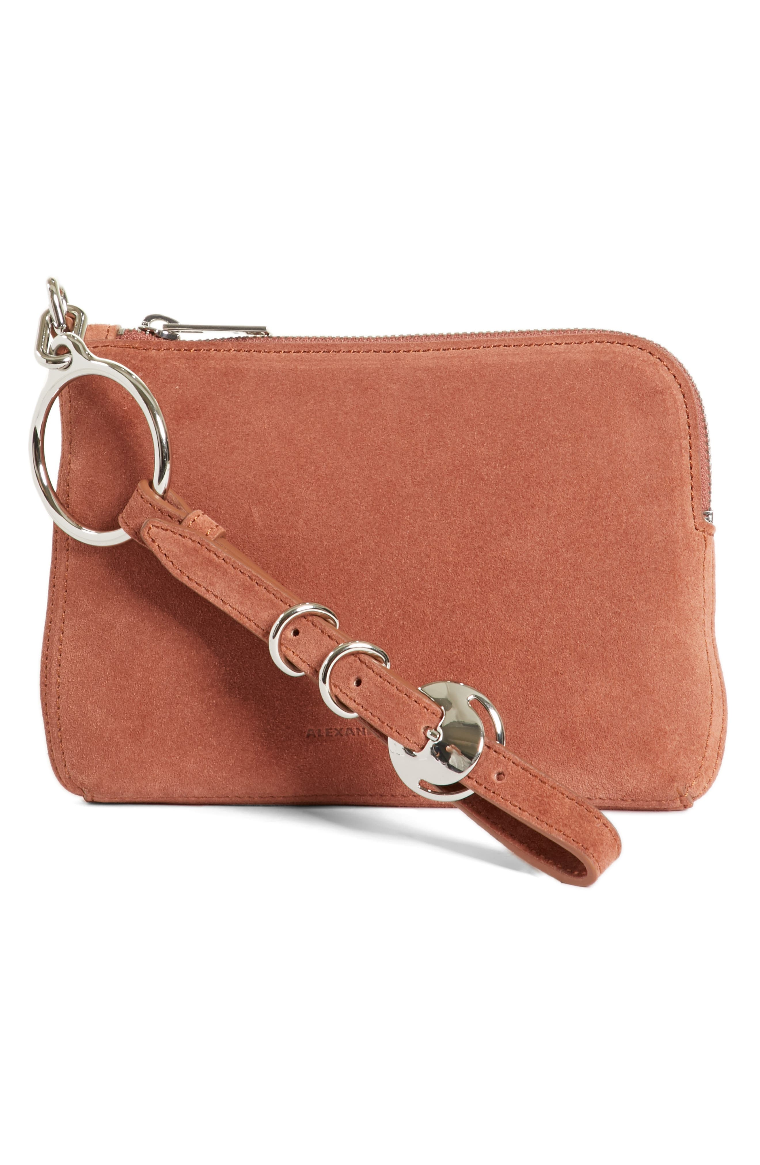 Small Ace Suede Wristlet,                         Main,                         color, 200