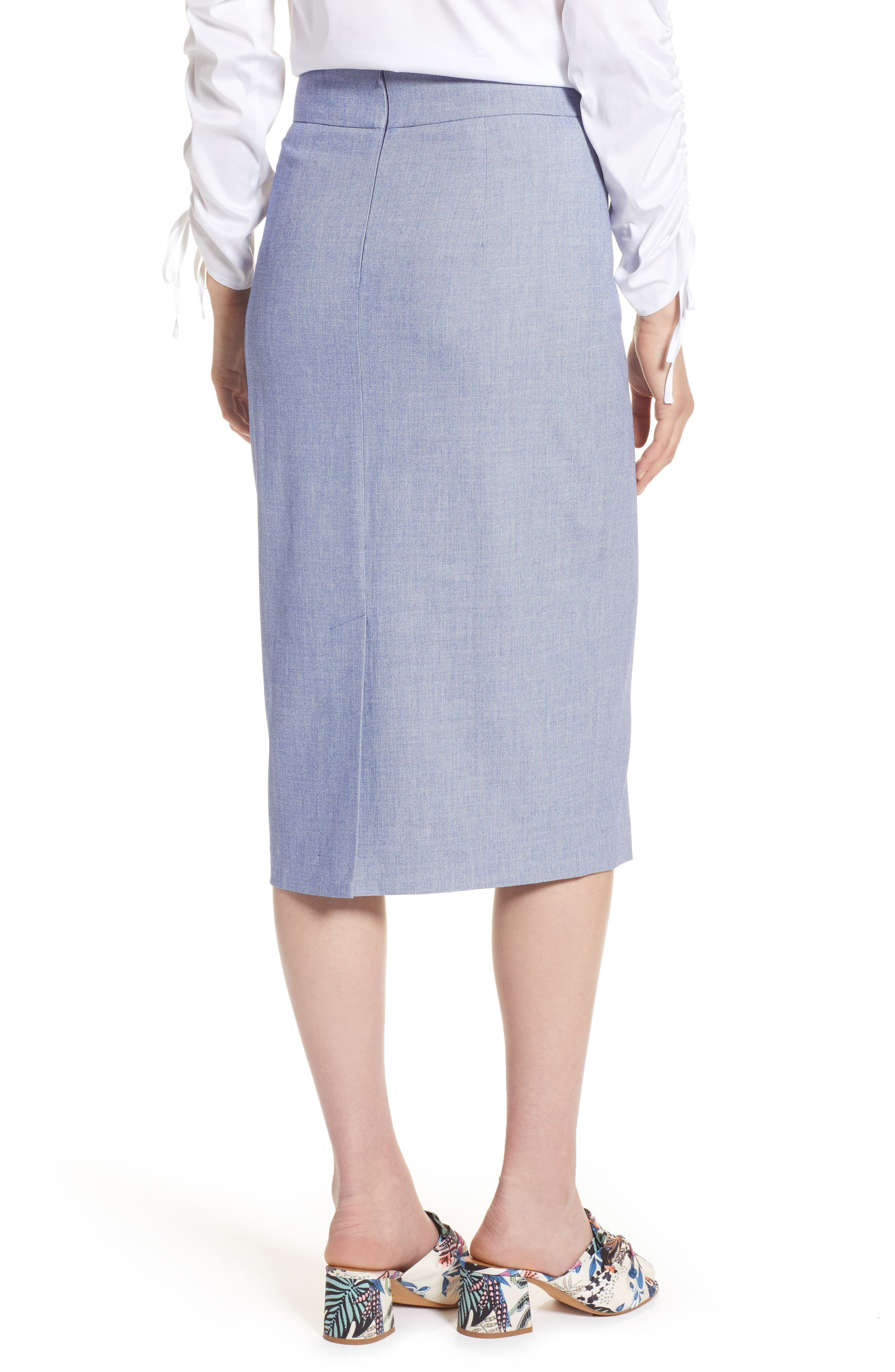 High Waist Chambray Skirt,                             Alternate thumbnail 2, color,                             400