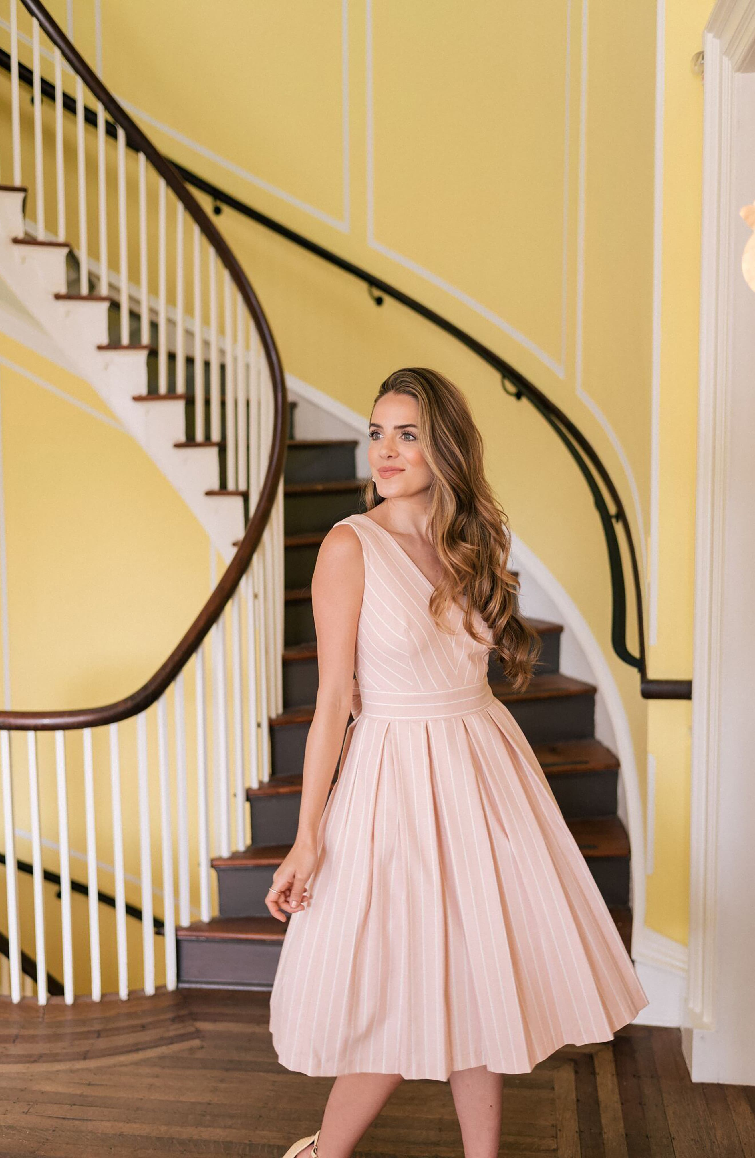 Samantha Slub Stripe Fit & Flare Dress,                             Alternate thumbnail 11, color,                             460