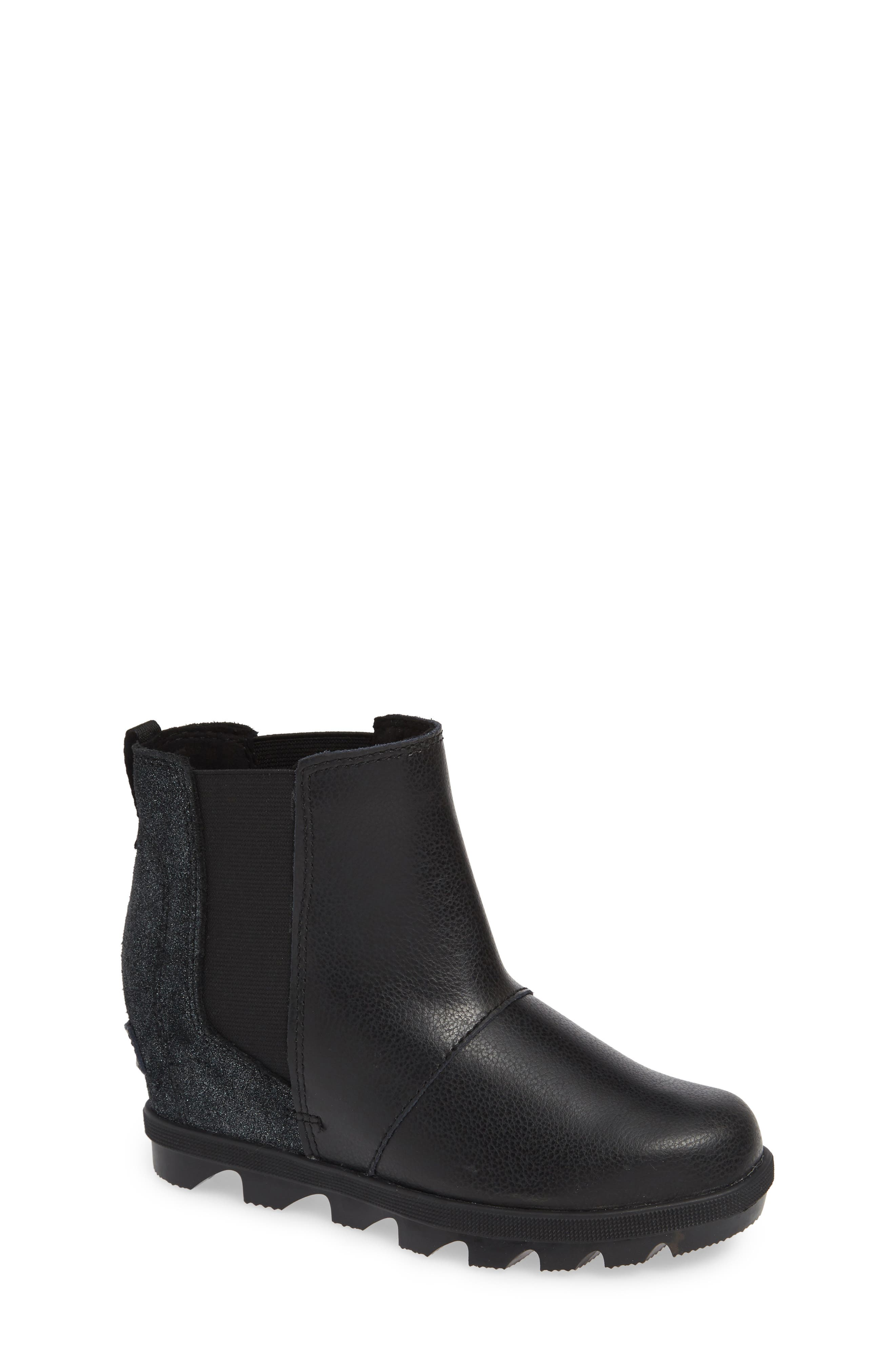 Joan of Arc II Waterproof Wedge Chelsea Boot,                             Main thumbnail 1, color,                             BLACK