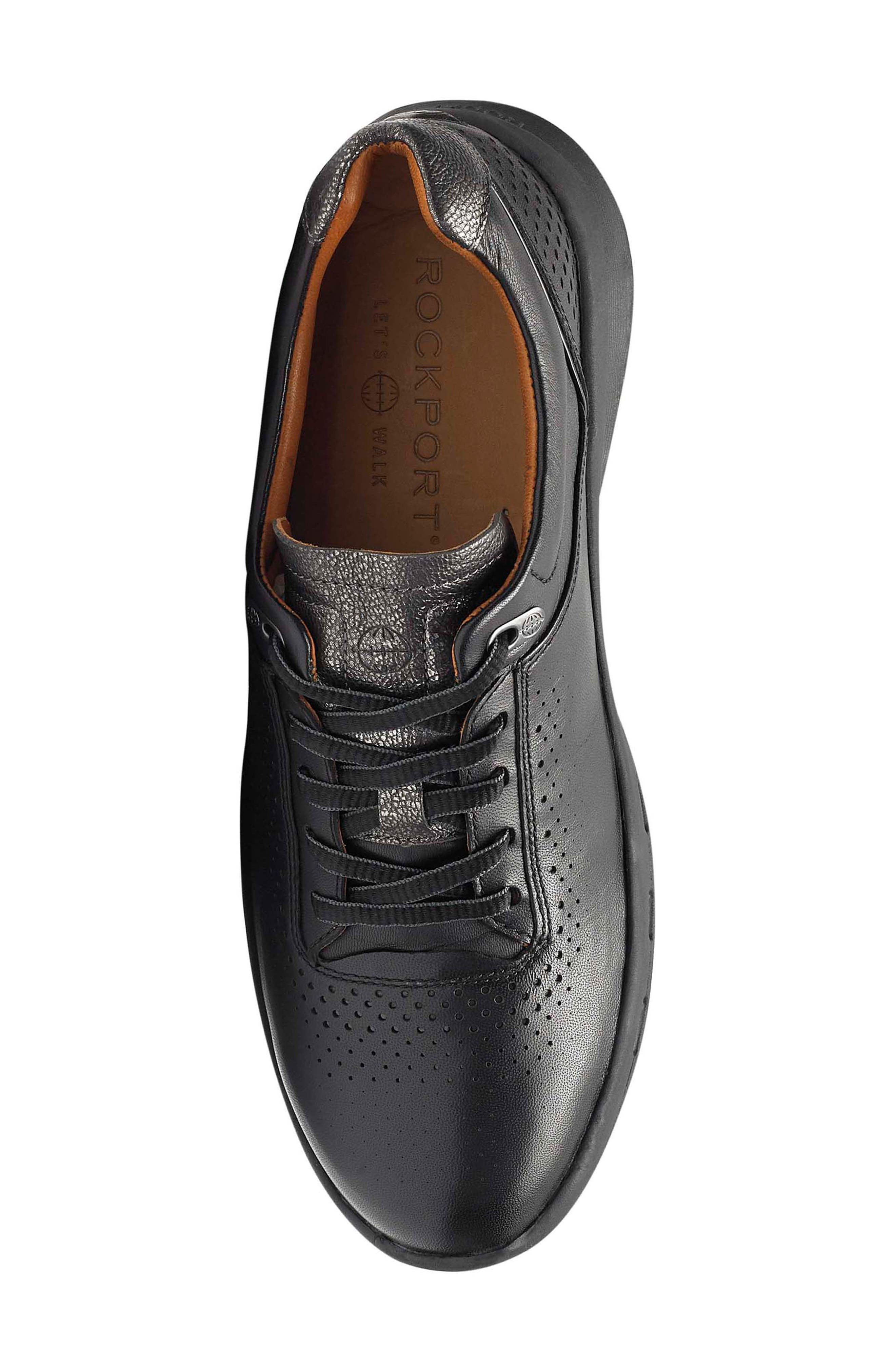 ROCKPORT,                             Let's Walk<sup>®</sup> Ubal Sneaker,                             Alternate thumbnail 5, color,                             BLACK/ BLACK LEATHER