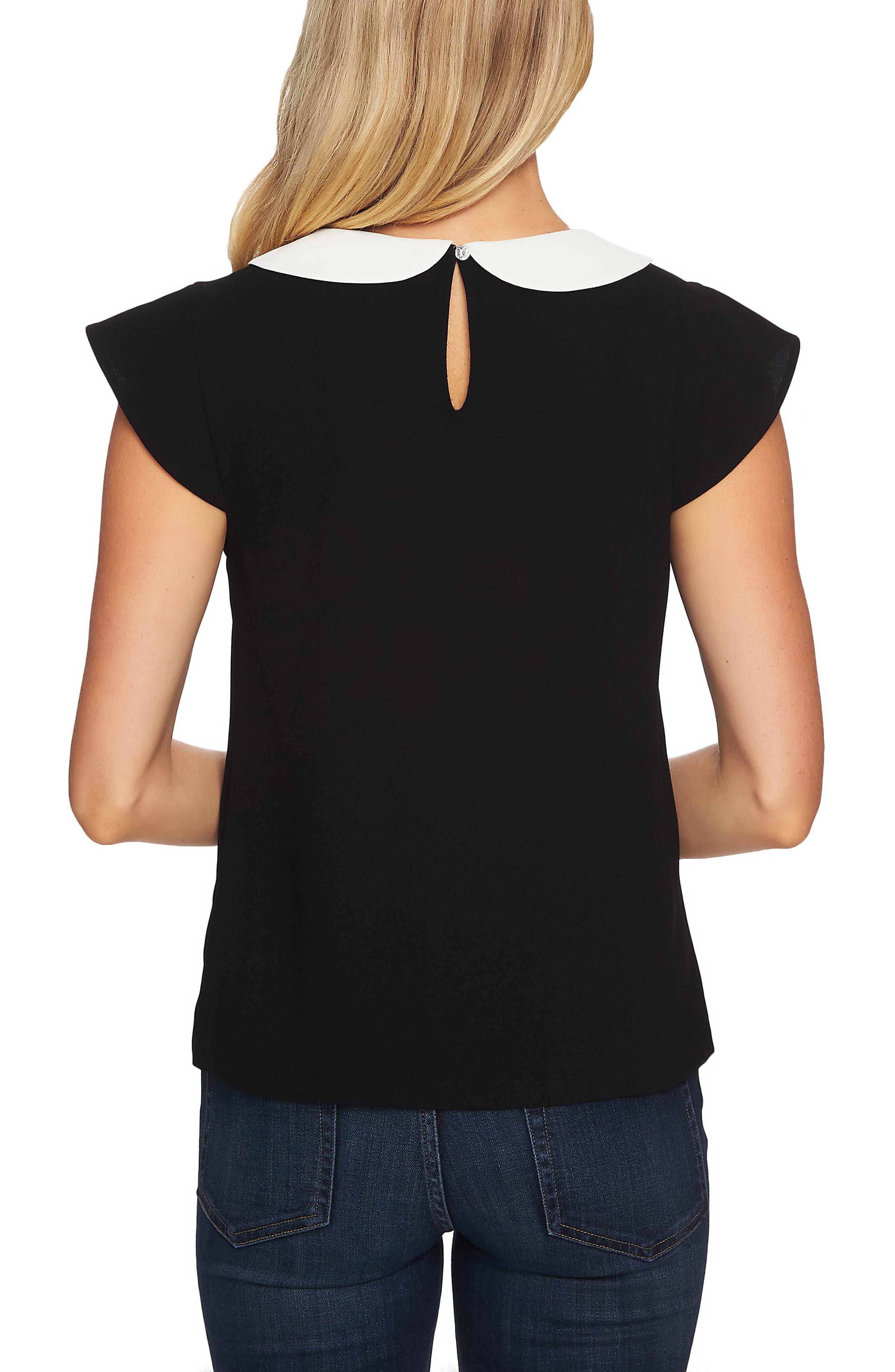 CECE,                             Double Collar Blouse,                             Alternate thumbnail 2, color,                             RICH BLACK