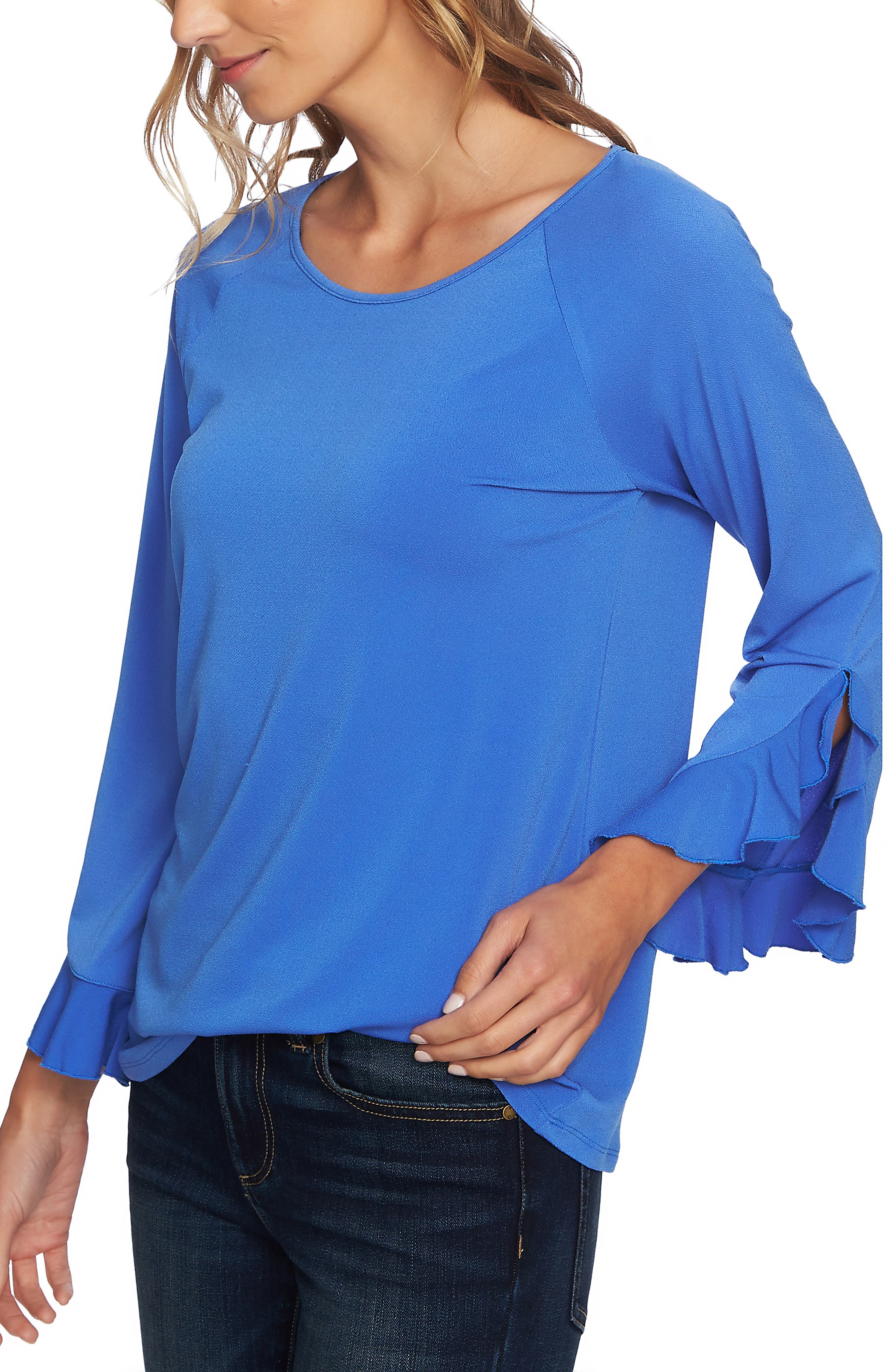 Ruffle Bell Sleeve Top,                             Alternate thumbnail 3, color,                             RICH PERI