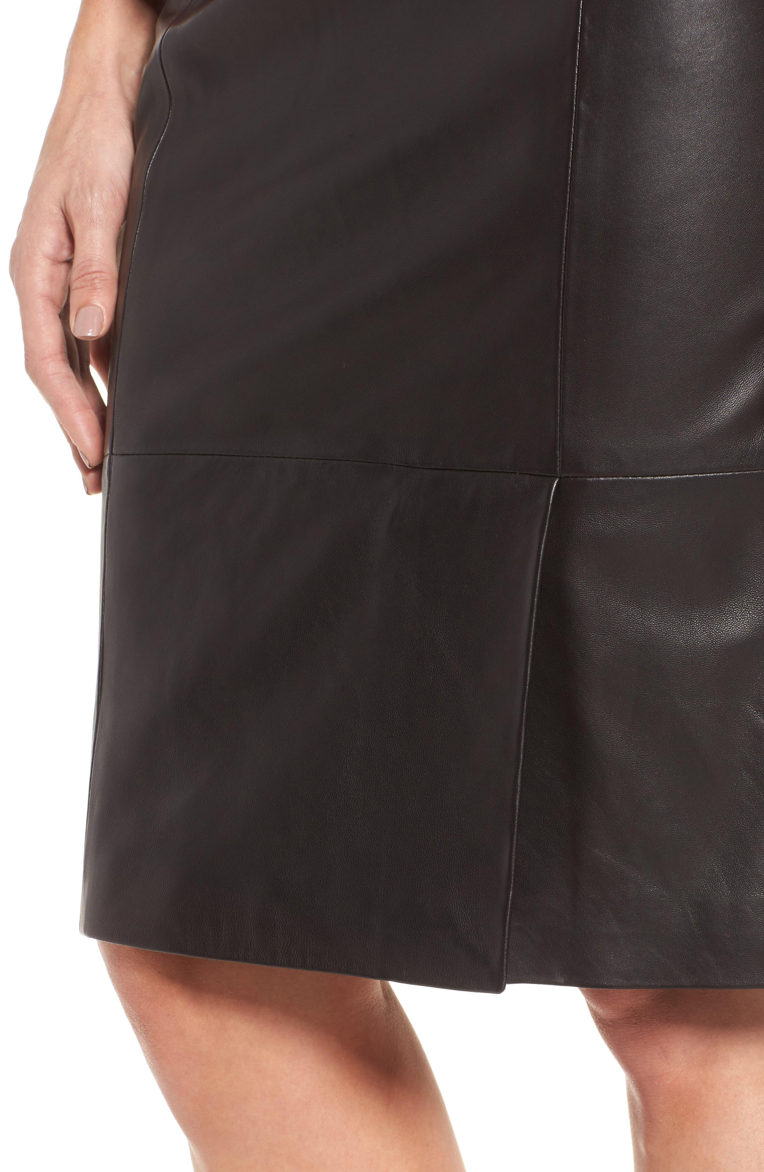 Sepama Leather Pencil Skirt,                             Alternate thumbnail 4, color,                             001