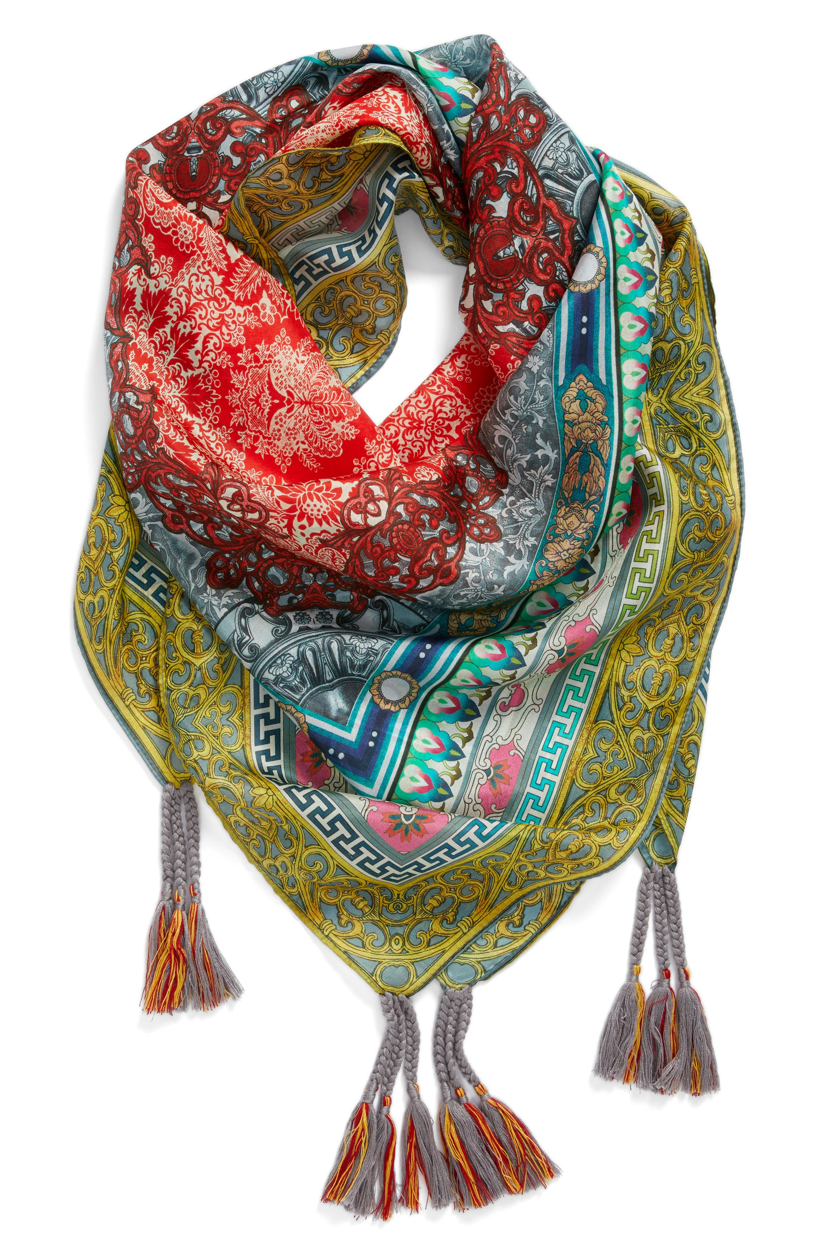 Annabelle Silk Square Scarf,                             Alternate thumbnail 2, color,                             600