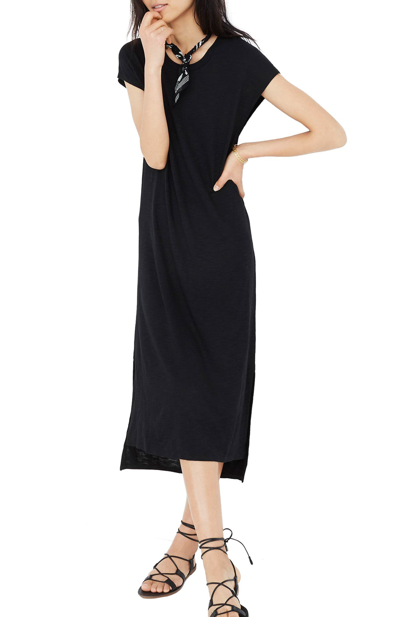 Muscle Midi Dress,                             Main thumbnail 1, color,                             001