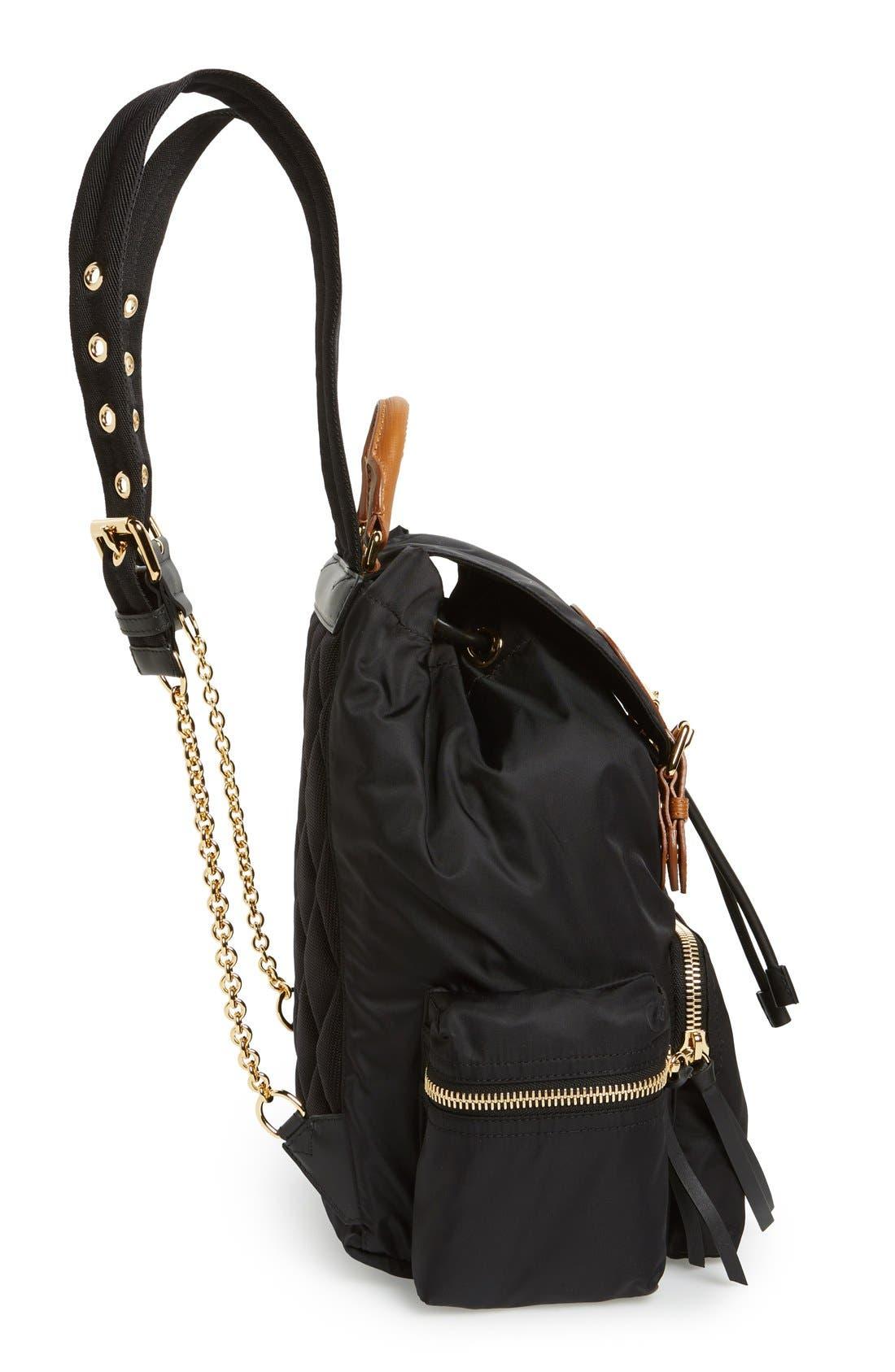 'Medium Runway Rucksack' Nylon Backpack,                             Alternate thumbnail 5, color,                             BLACK