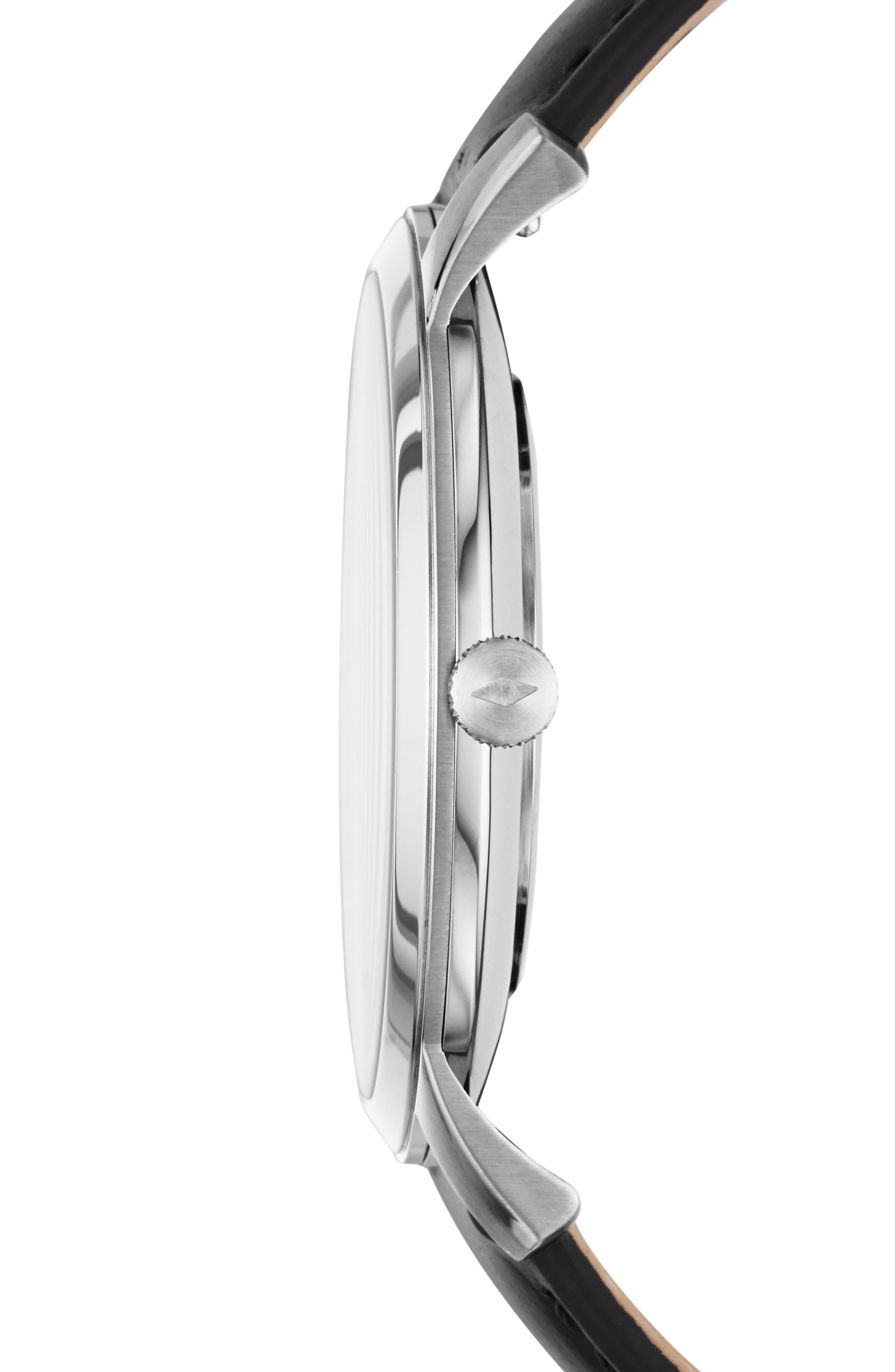 Minimalist 3H Carbon Leather Strap Watch, 44mm,                             Alternate thumbnail 3, color,                             BLACK/ SILVER