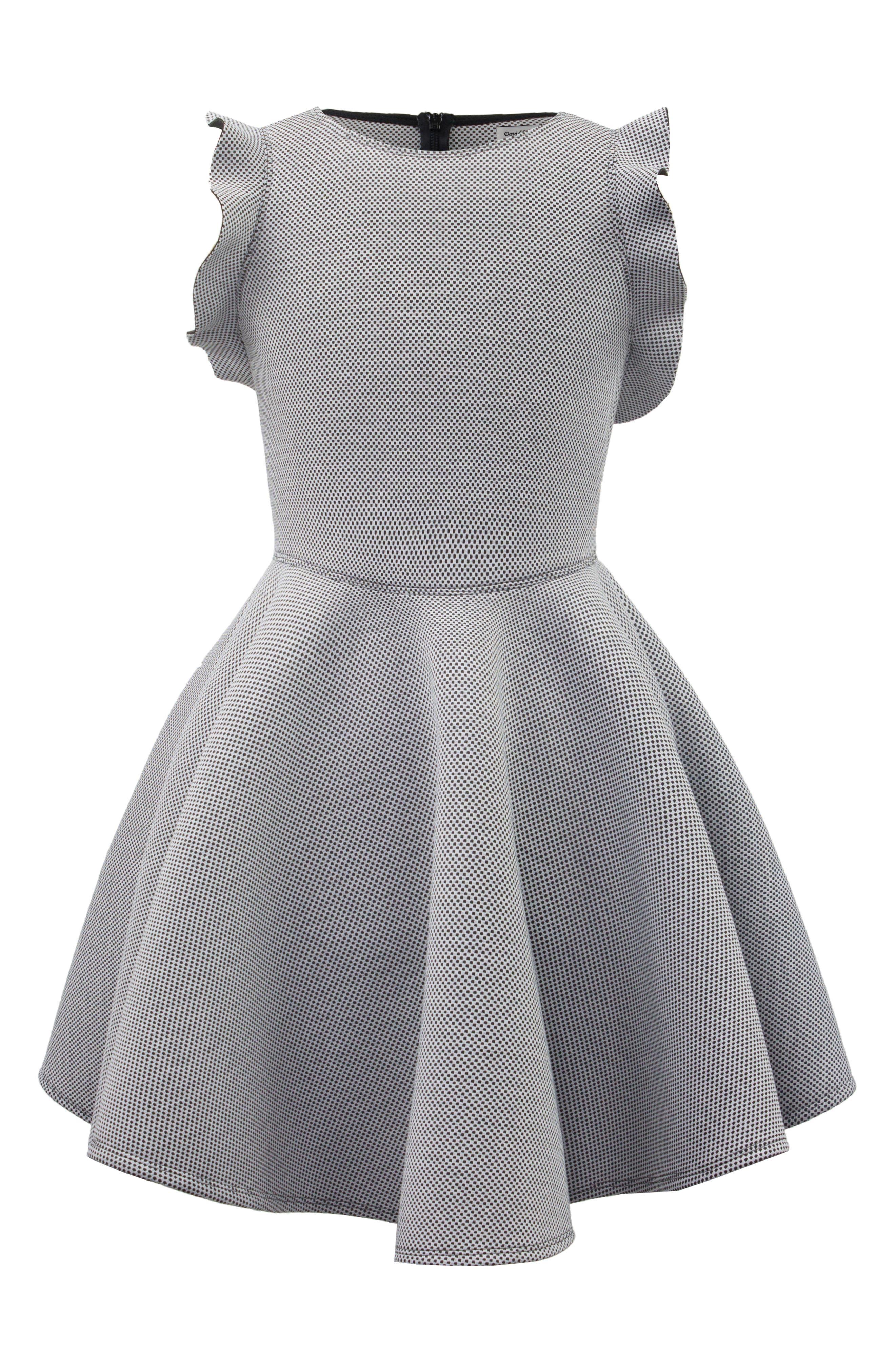 Birdseye Scuba Skater Dress,                             Main thumbnail 1, color,                             001