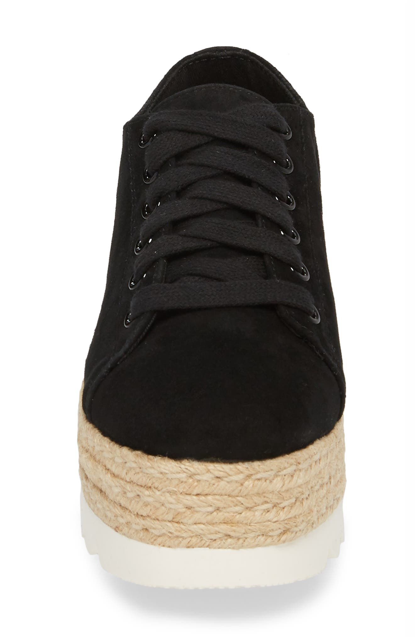 Karma Espadrille Platform Sneaker,                             Alternate thumbnail 4, color,                             BLACK SUED