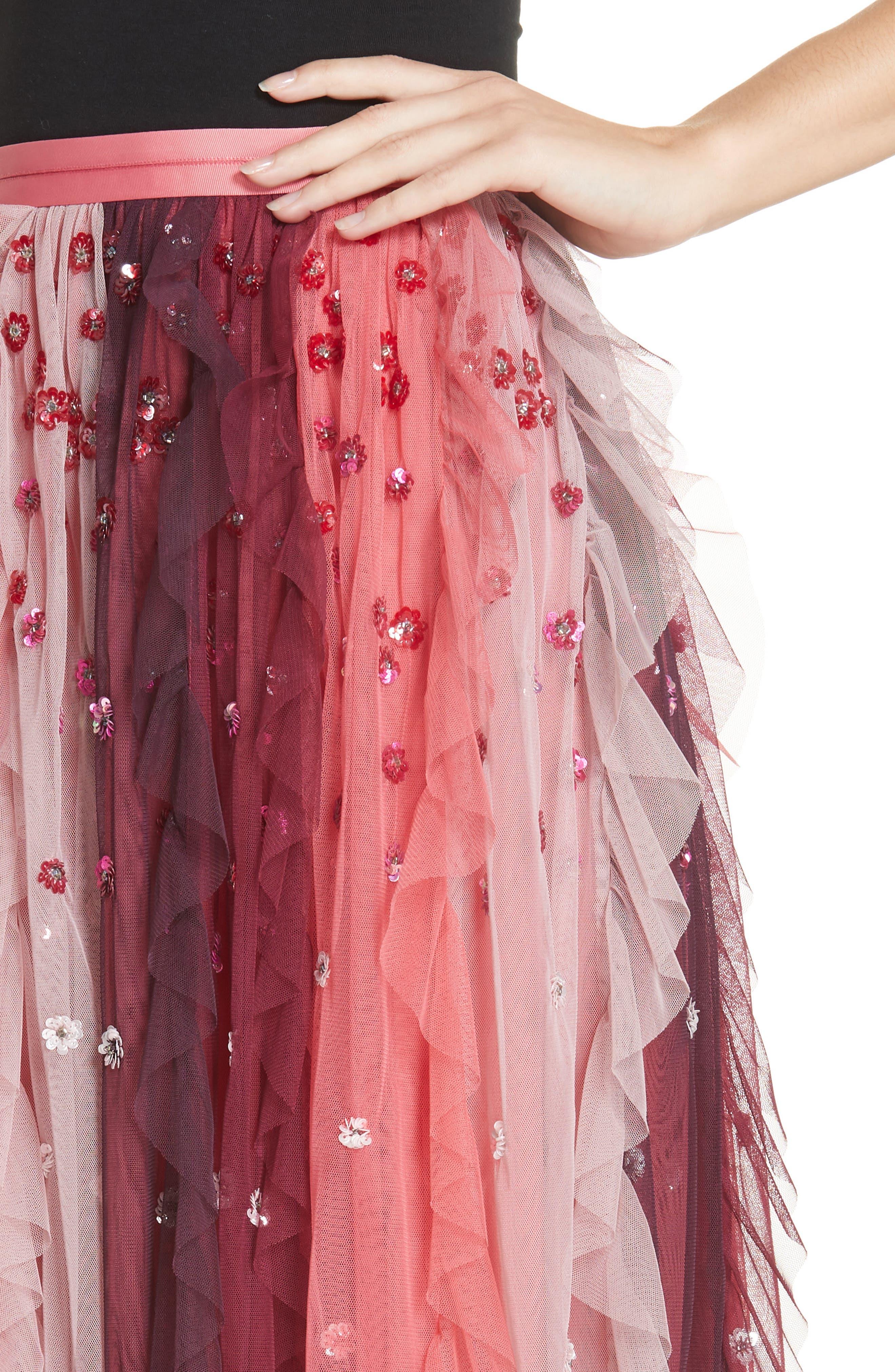 Rainbow Midi Skirt,                             Alternate thumbnail 4, color,                             CHERRY