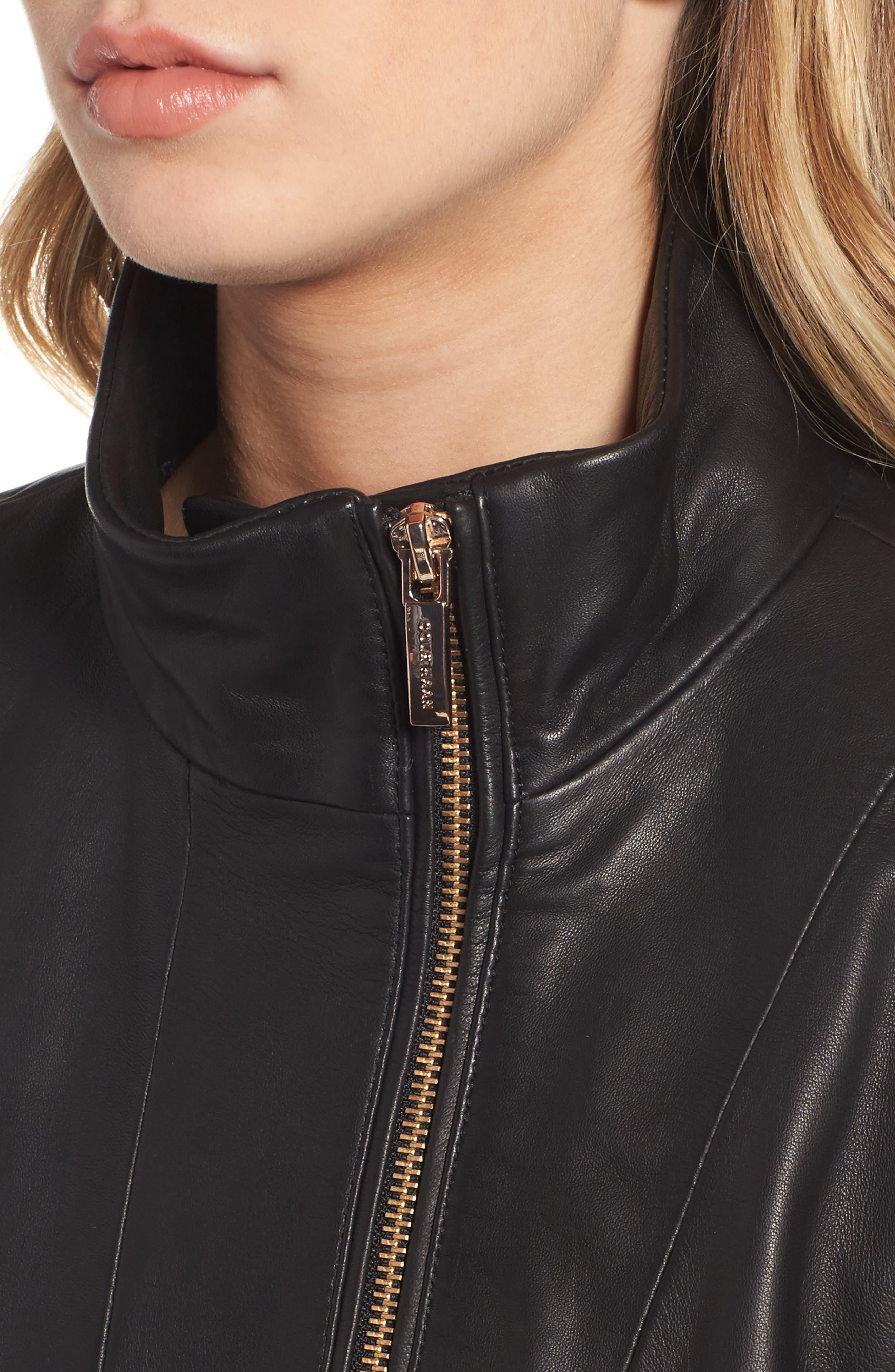 Leather Car Coat,                             Alternate thumbnail 4, color,                             001