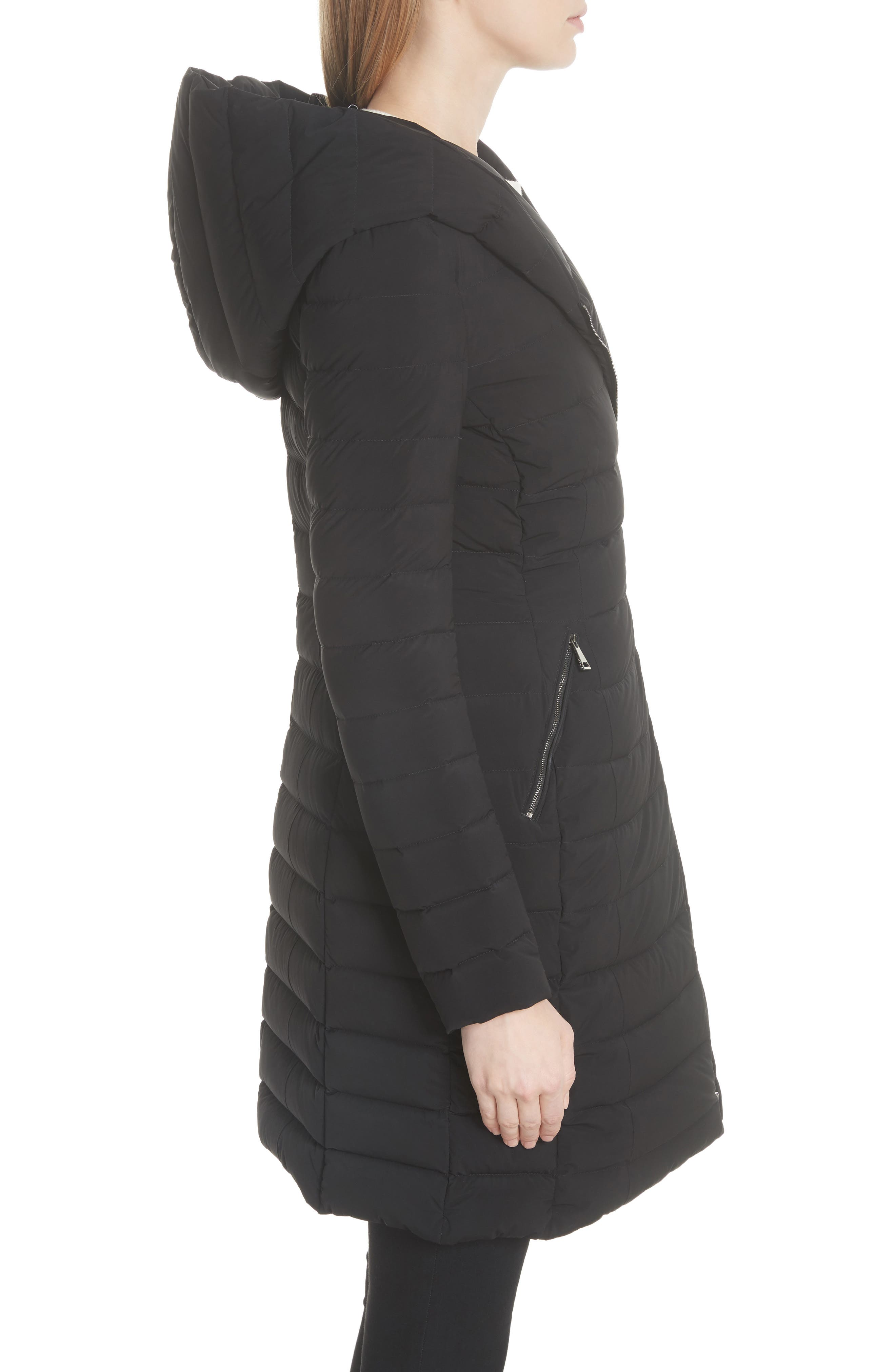 Barge Quilted Down Coat,                             Alternate thumbnail 3, color,                             BLACK