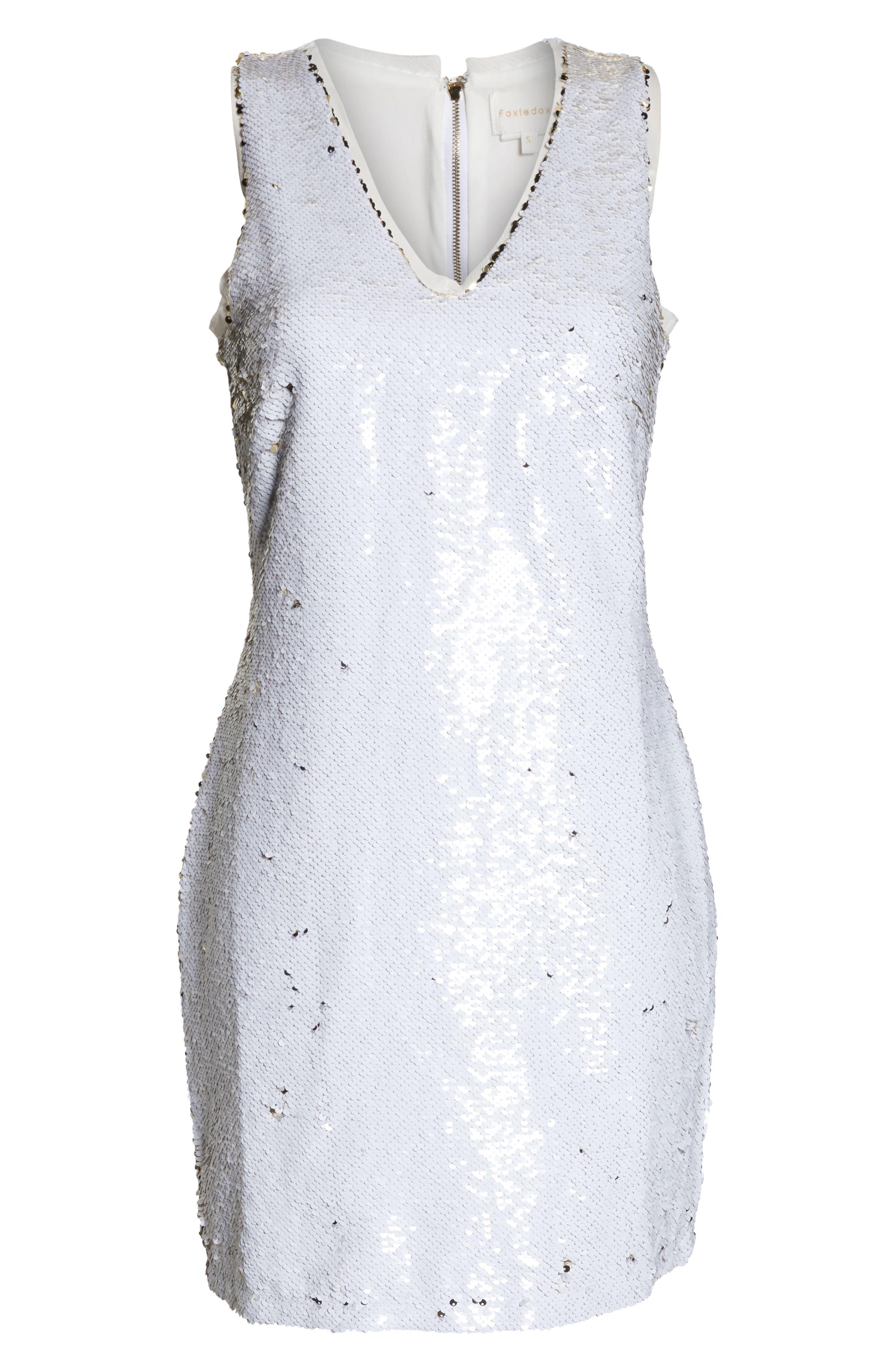 Double Sided Sequin Dress,                             Alternate thumbnail 8, color,                             WHITE MULTI