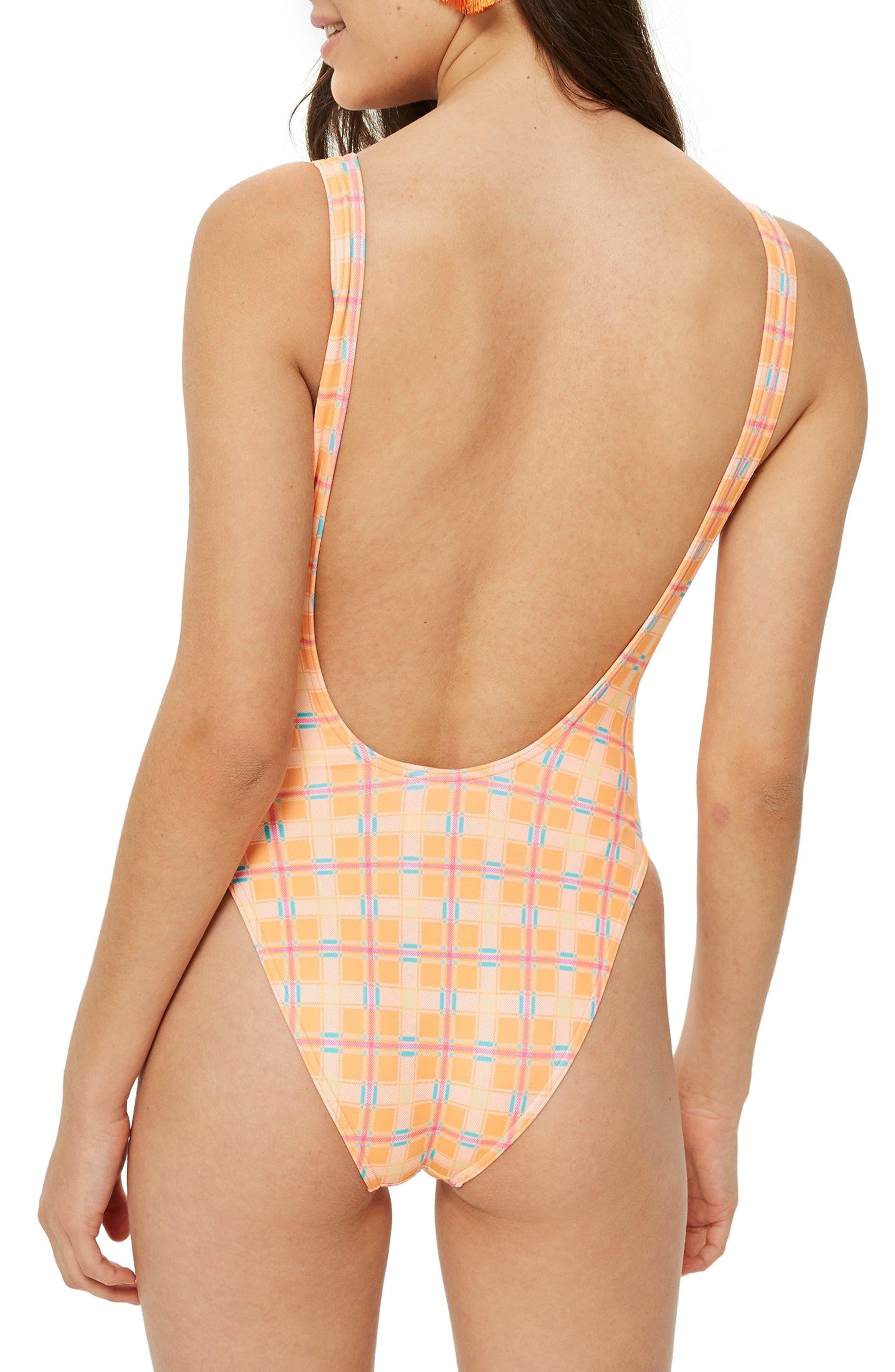 Check Print One-Piece Swimsuit,                             Alternate thumbnail 2, color,                             800