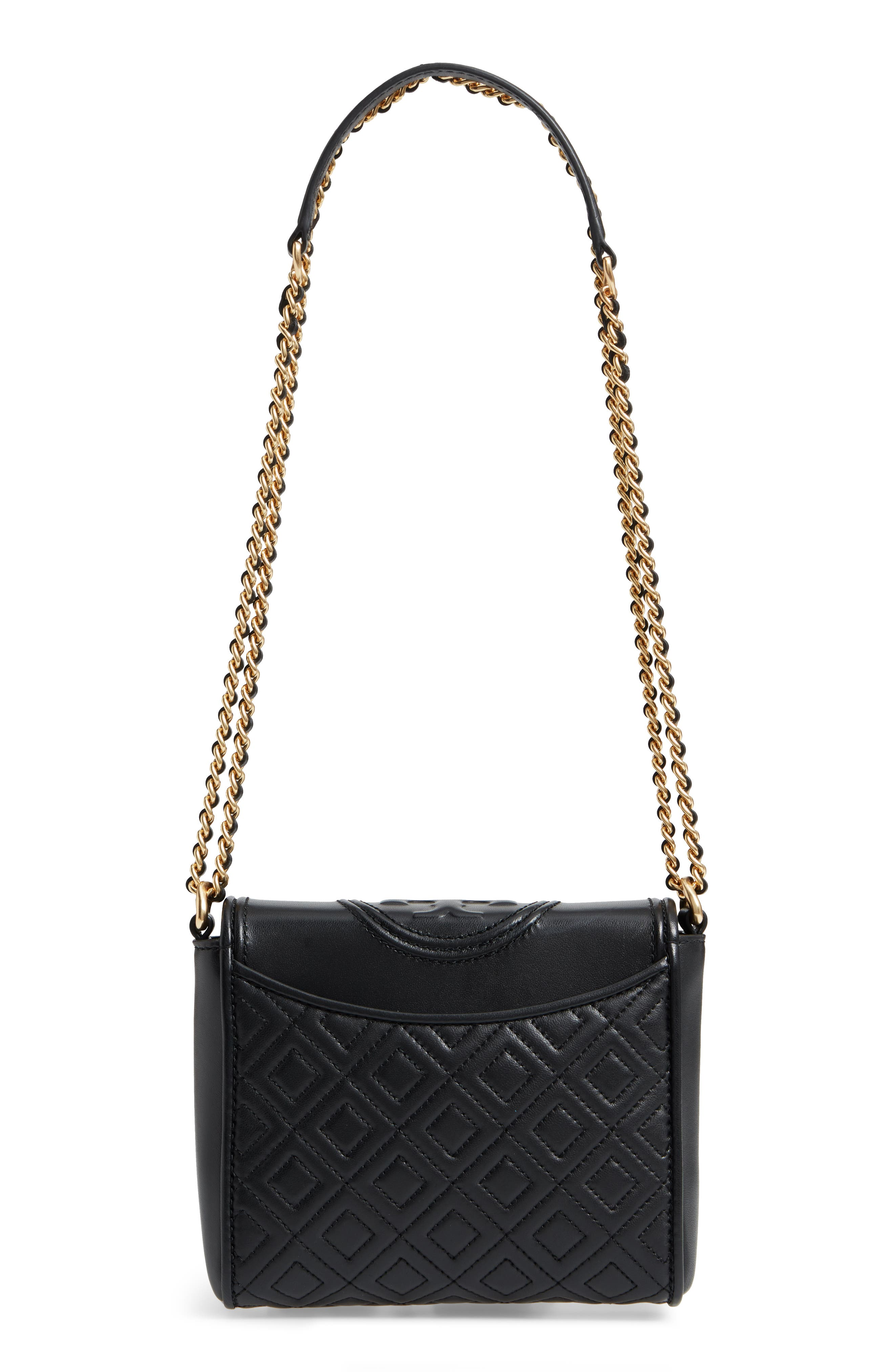 Fleming Quilted Leather Crossbody Bag,                             Alternate thumbnail 3, color,                             001