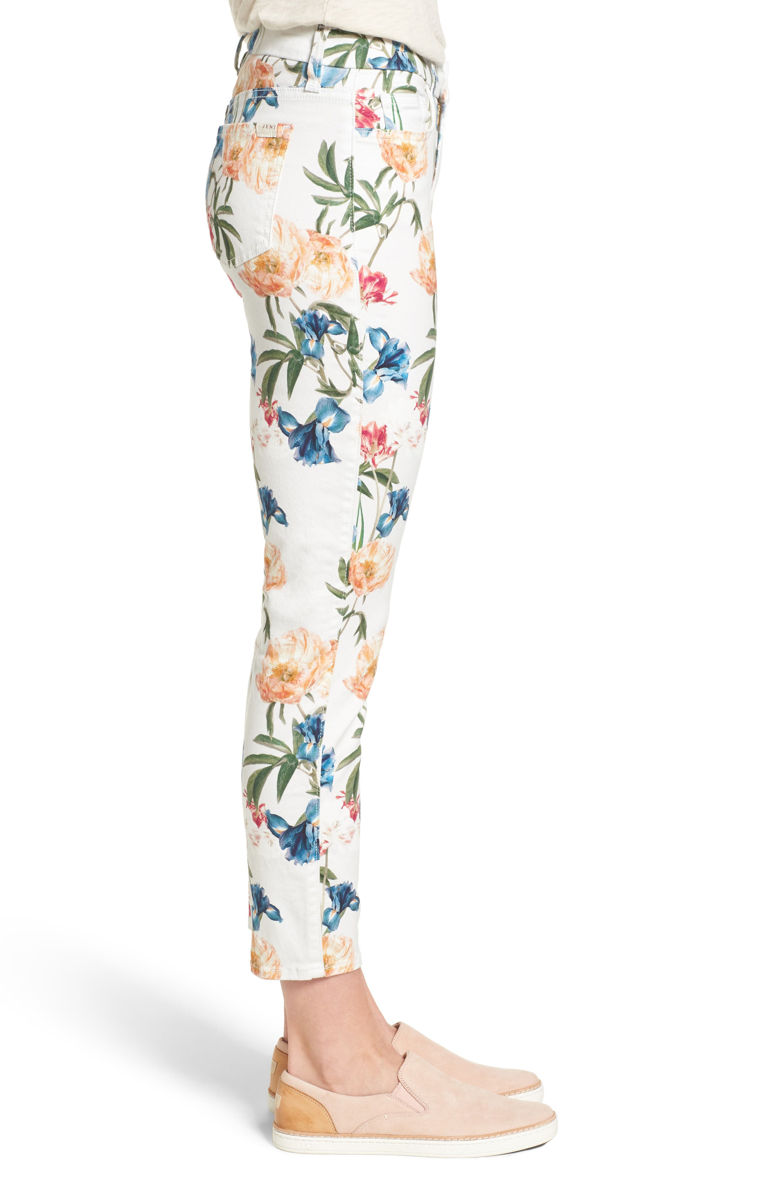 Floral Print Crop Skinny Jeans,                             Alternate thumbnail 3, color,                             101